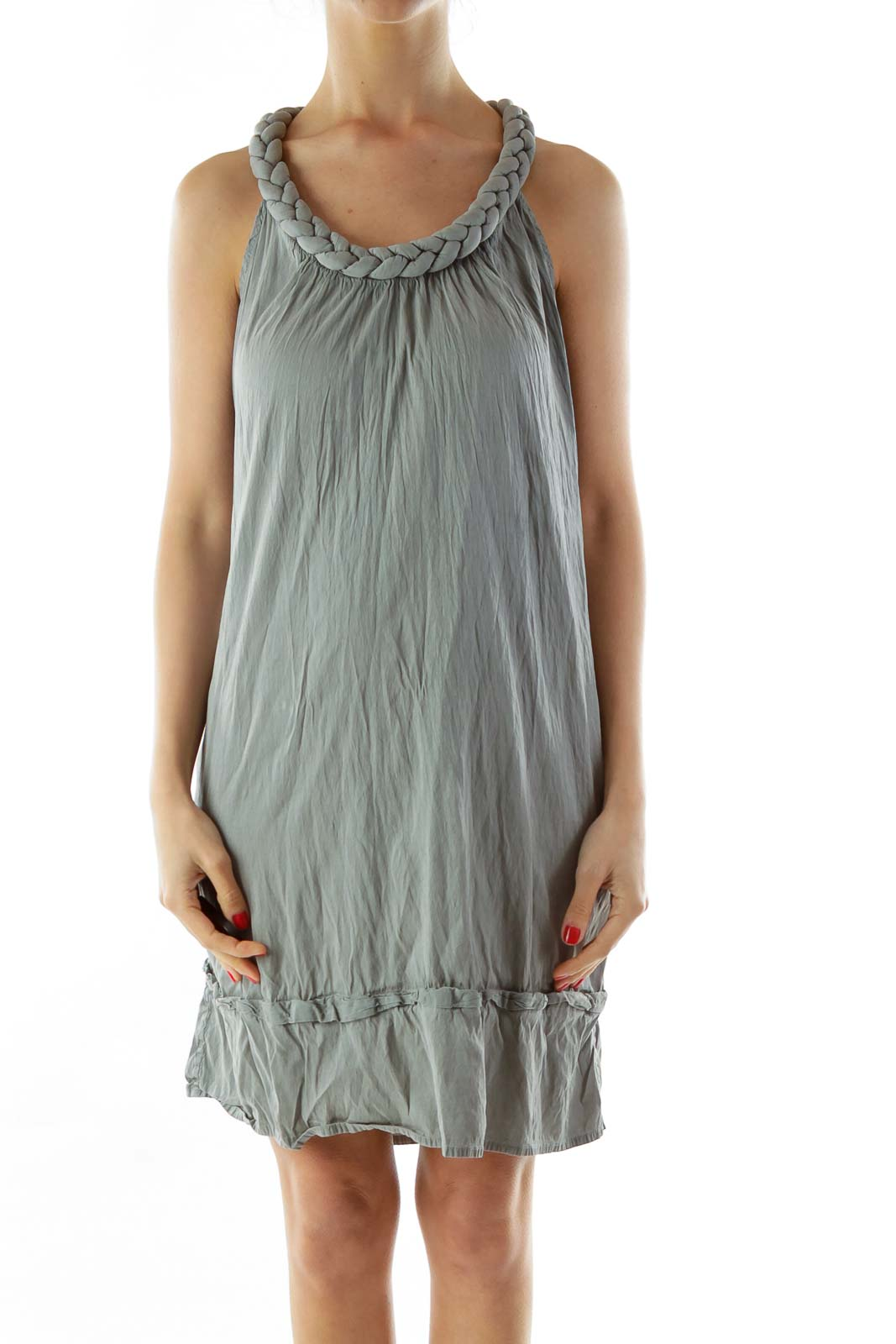 Gray Sleeveless Round Neck Day Dress Front
