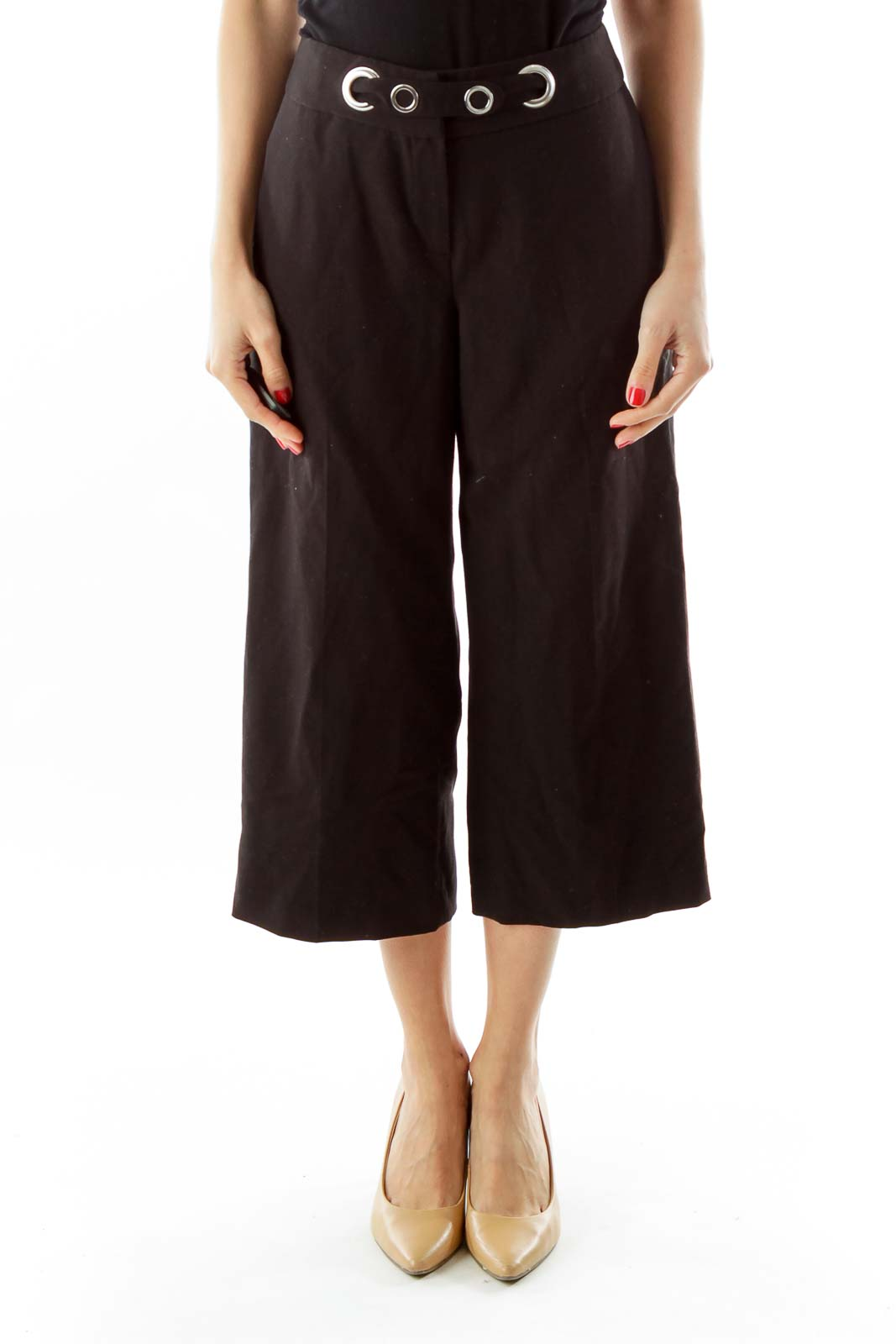 Black Cropped Belted Straight-Leg Pants Front
