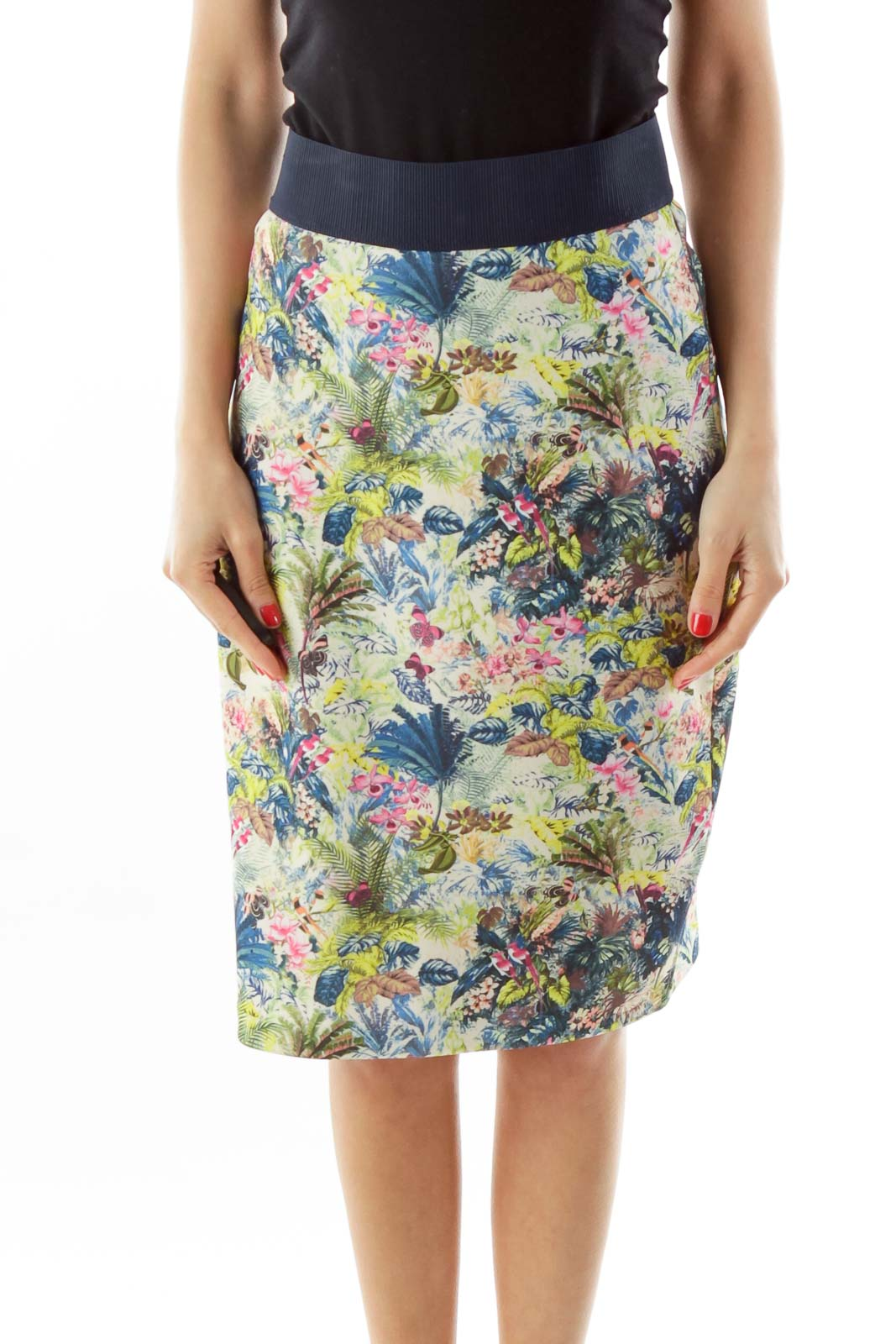 Green Floral Pencil Skirt Front