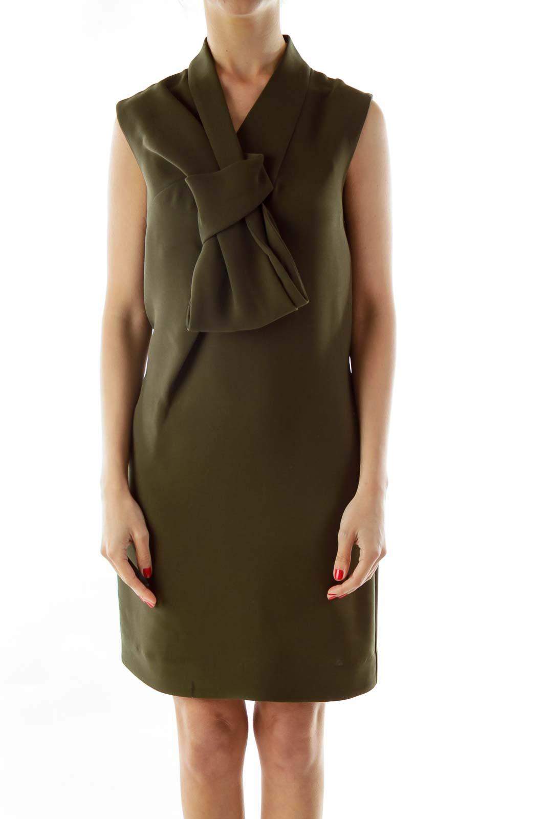 Green Bow Evening Dress Front