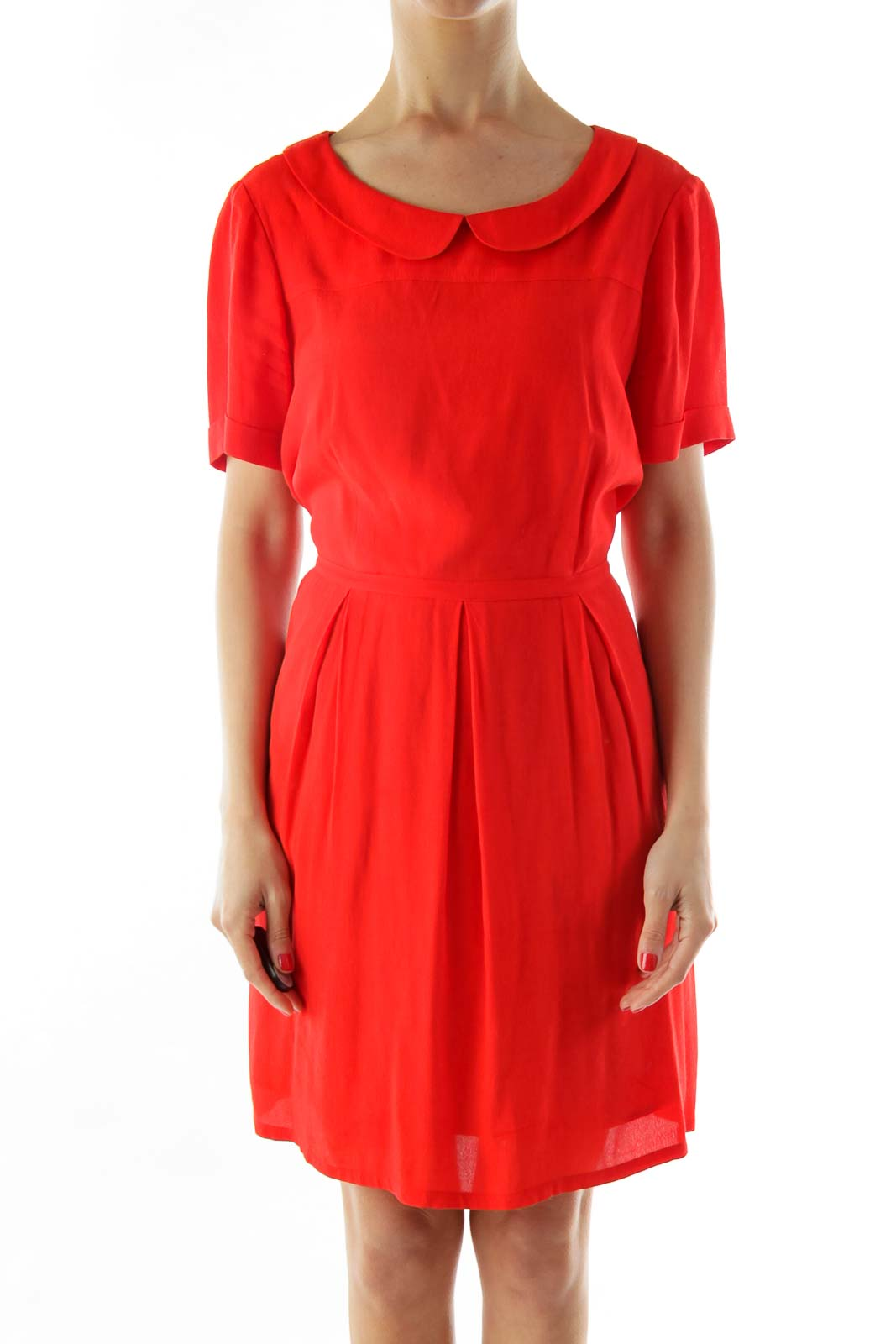 Red Short Sleeve Collared Work Dress Front