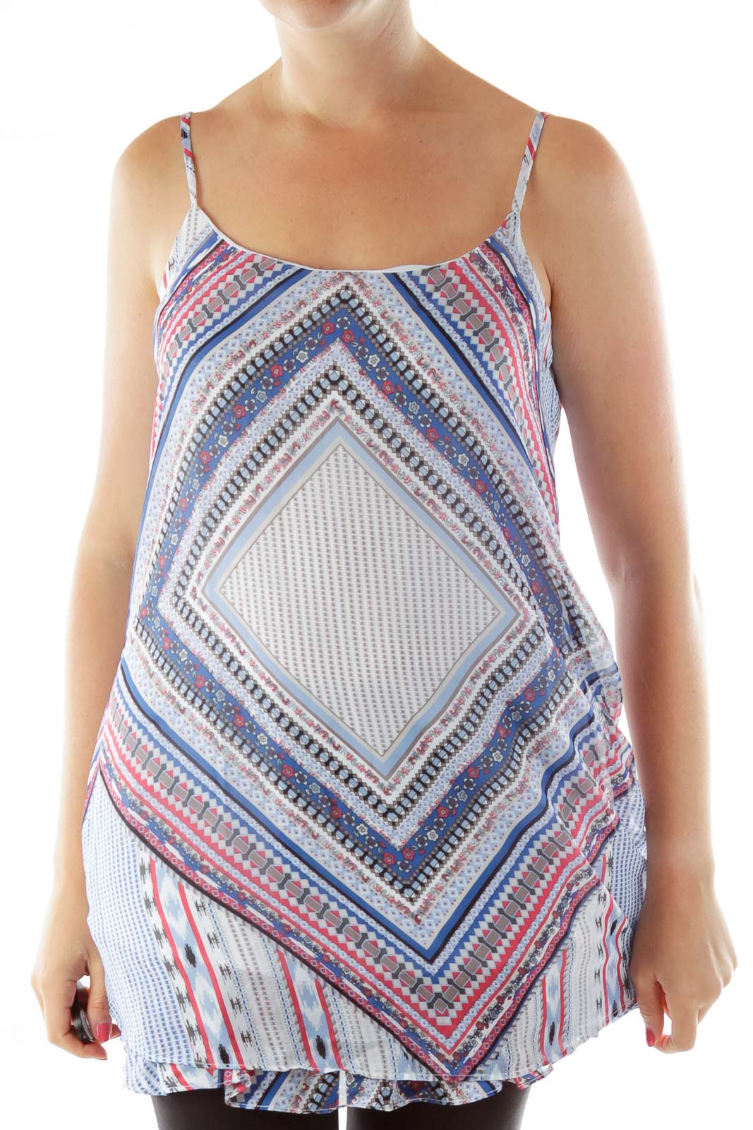 Blue White Print Sleeveless Blouse Front