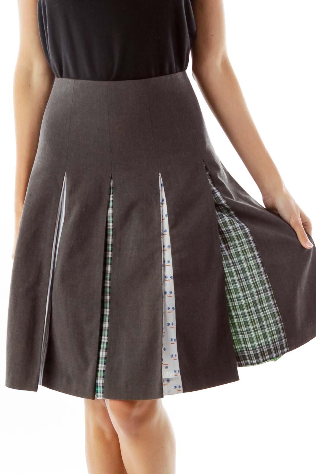 Gray Pleated Midi Skirt Front