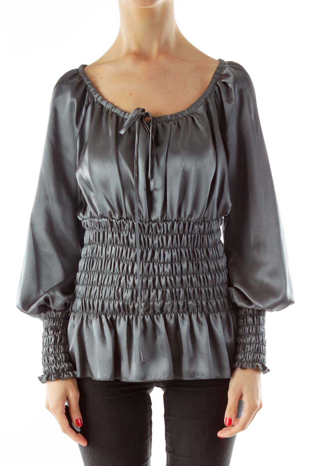 Silver Satin Scrunched Blouse Front