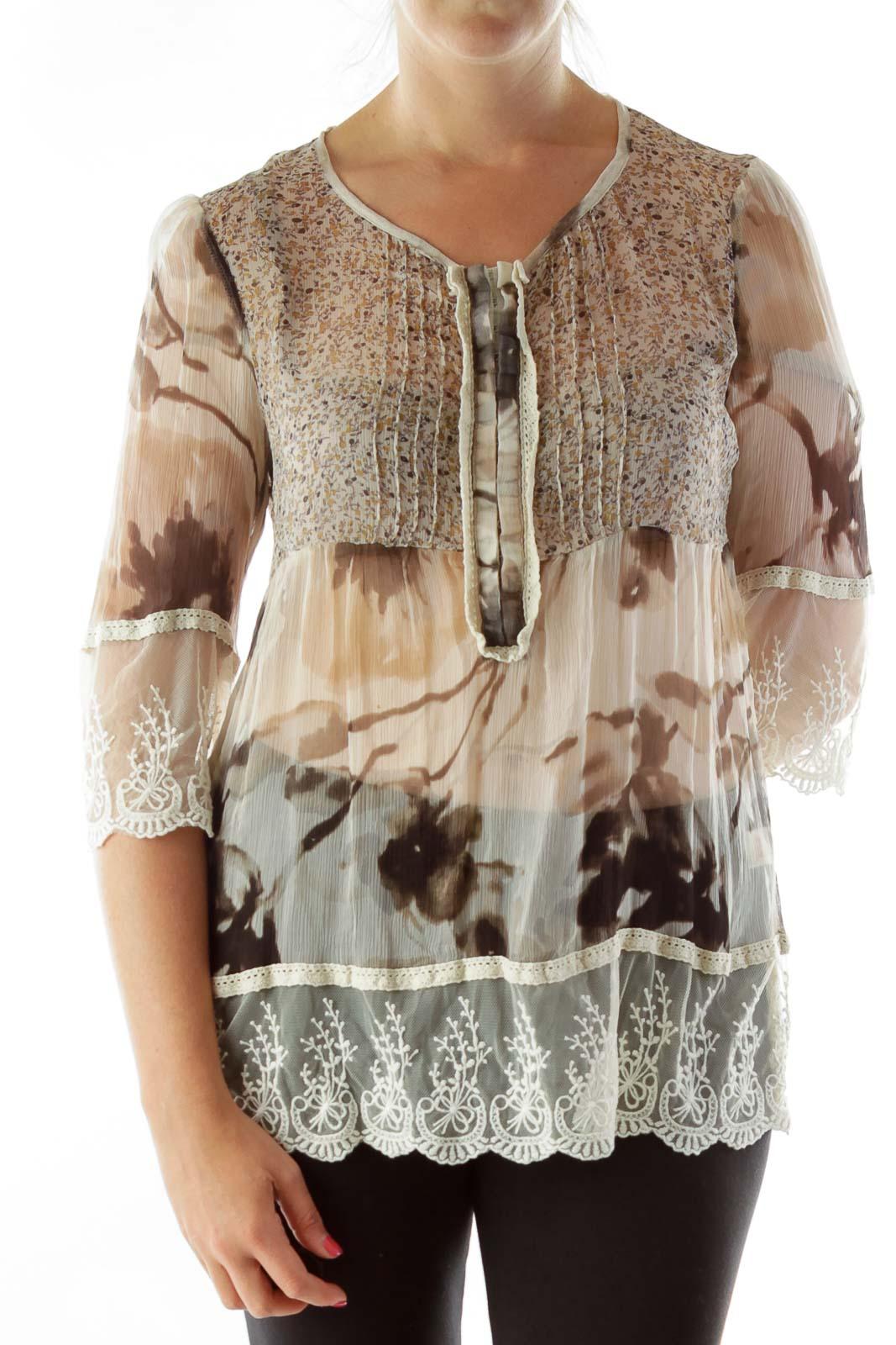 Beige Lace Silk Blouse Front