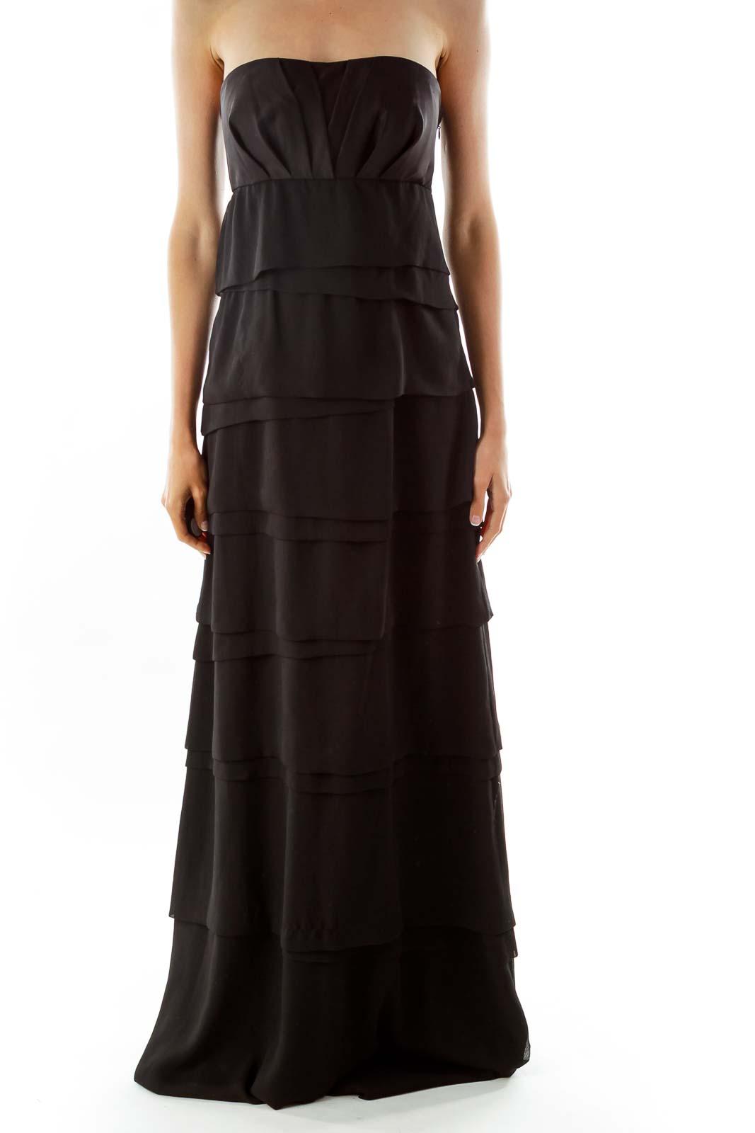 Black Ruffled Evening Dress Front