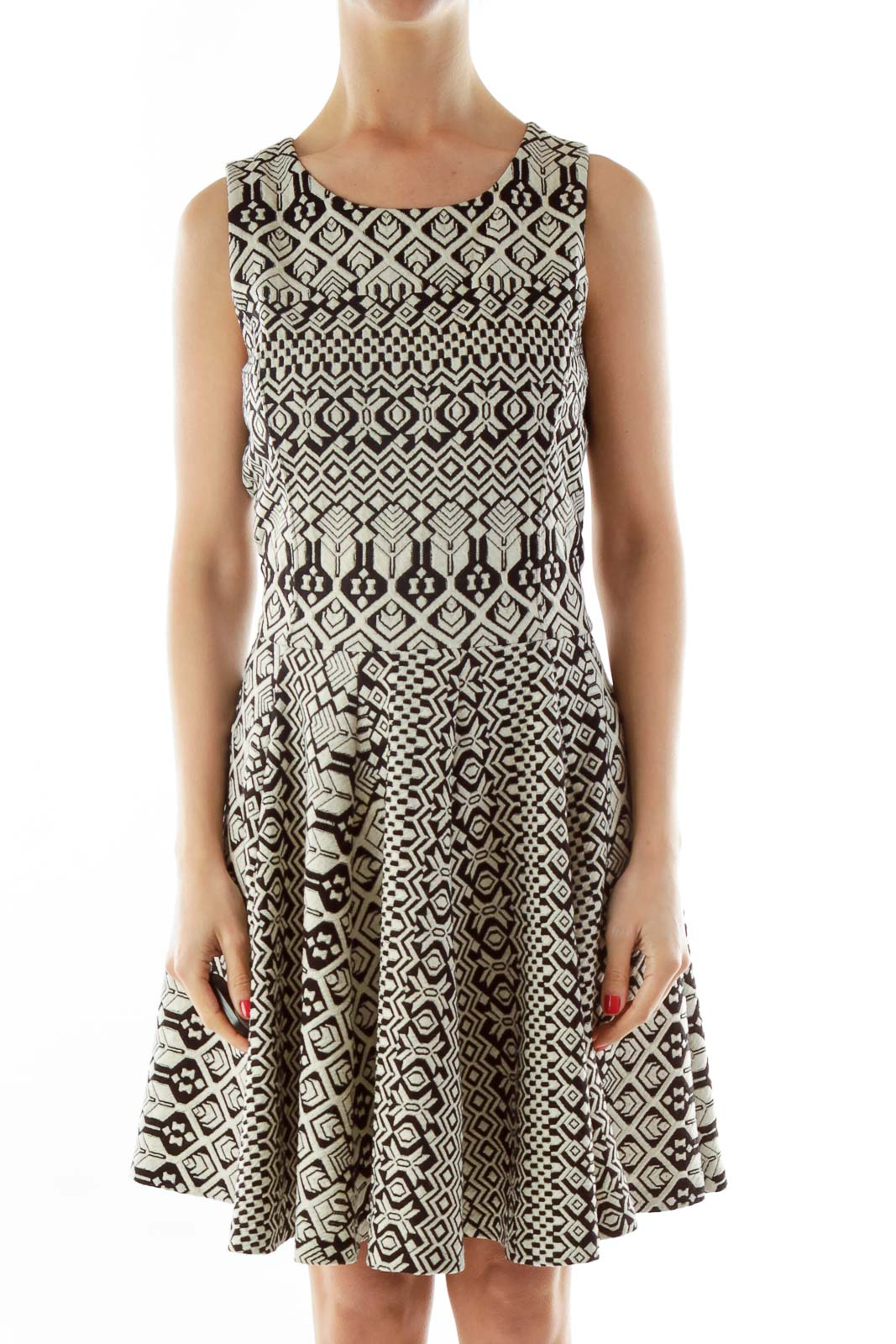 Black Cream Embroidered A-Line Work Dress Front