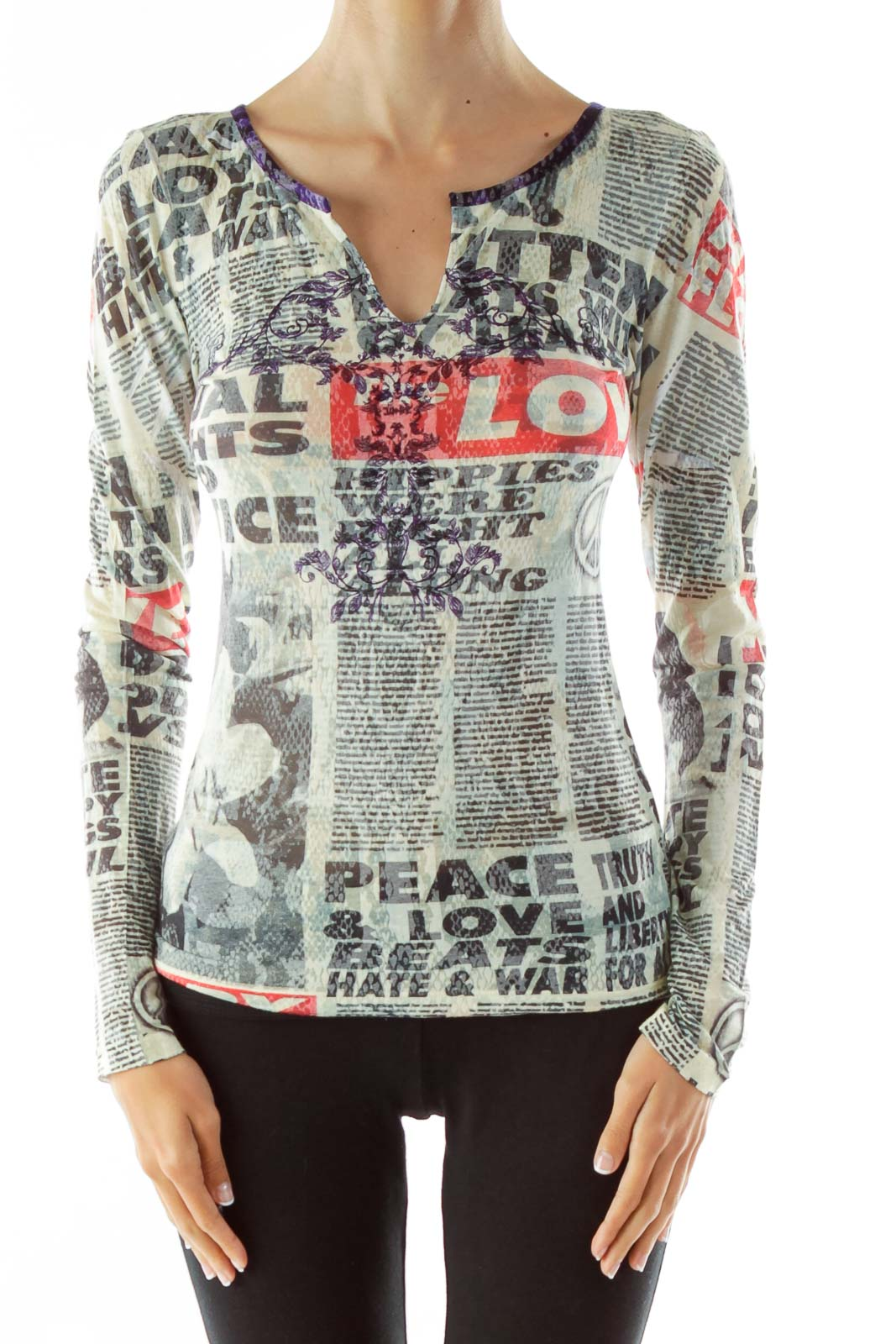 Printed Embroidered Slitted Collar Top Front