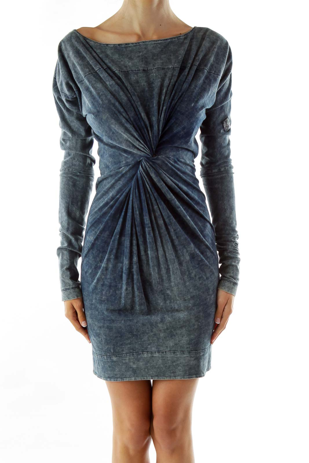 Blue Scrunched Zippered Faux-Denim Dress Front