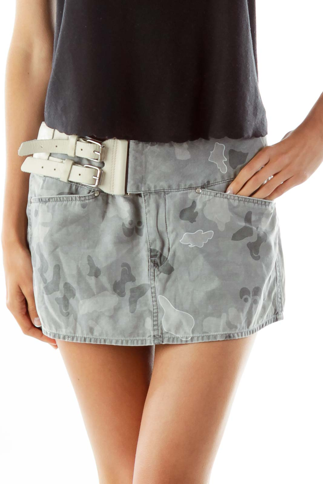 Grey Camouflage Belted Mini Skirt Front