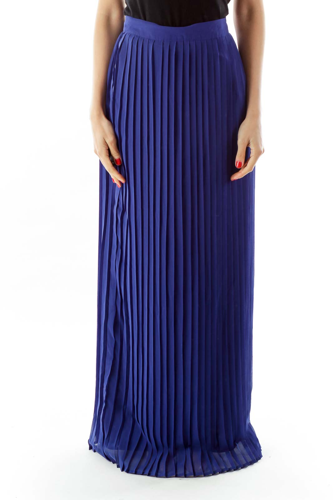 Blue Pleated Maxi SKirt Front