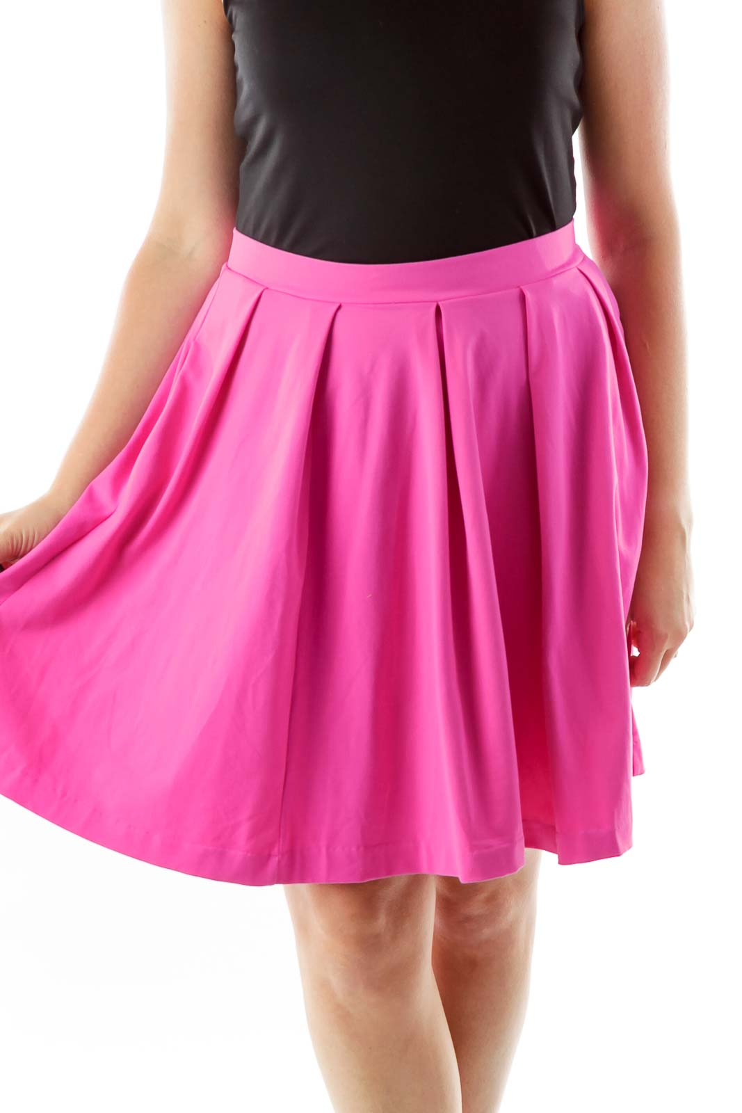 Pink Pleated Flared Skirt Front