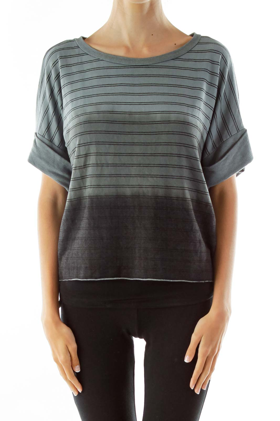 Grey Black Ombre Stripped T-Shirt Front