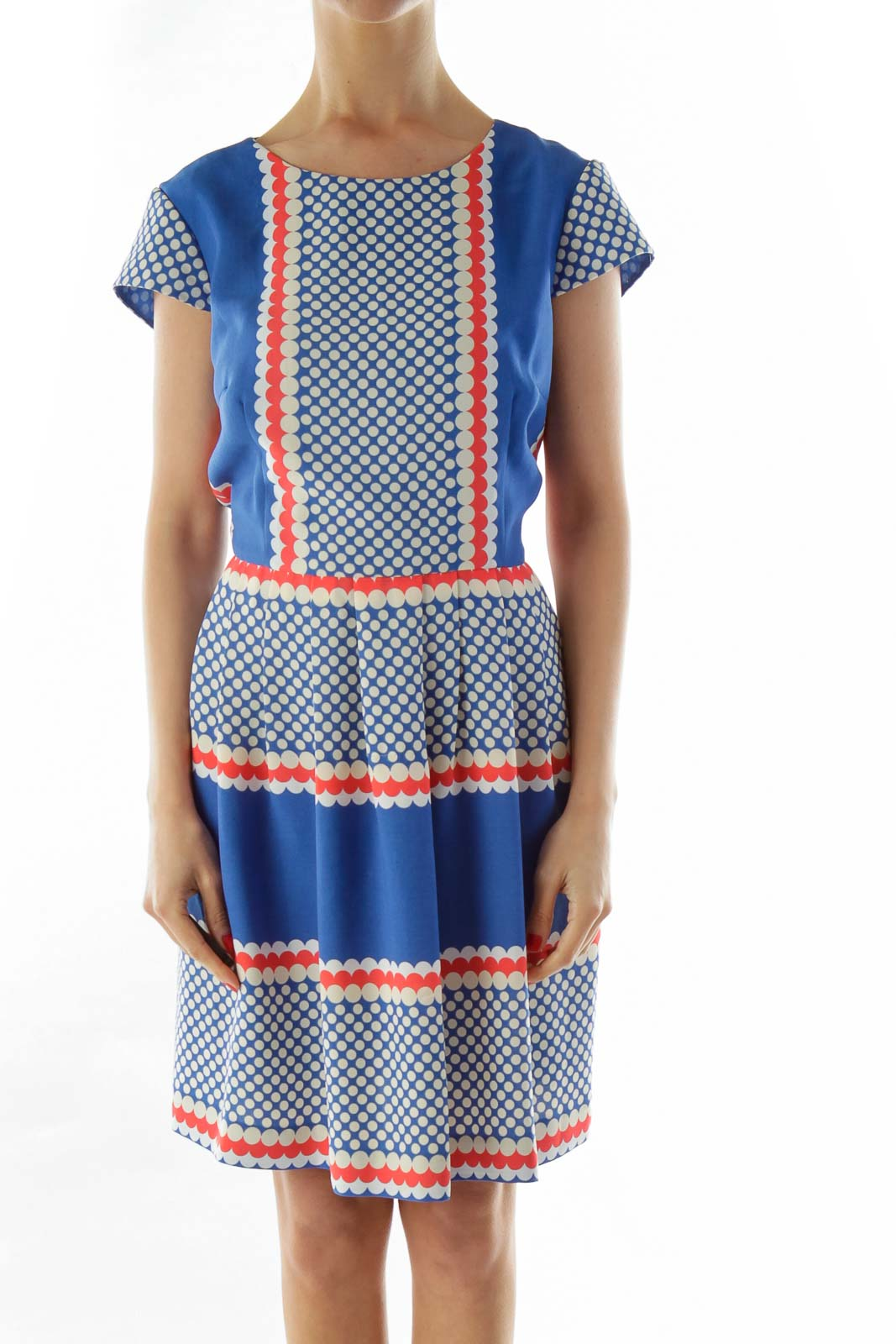 Blue White Pleated Printed Dress Front