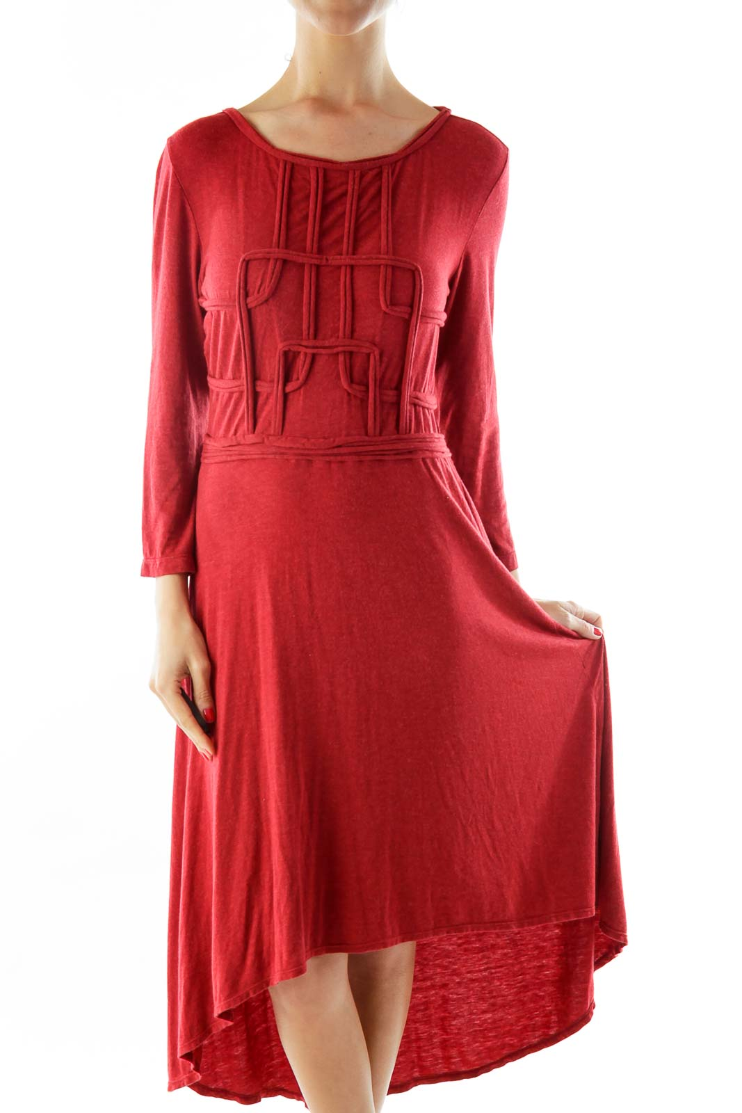Red Textured Day Dress Front