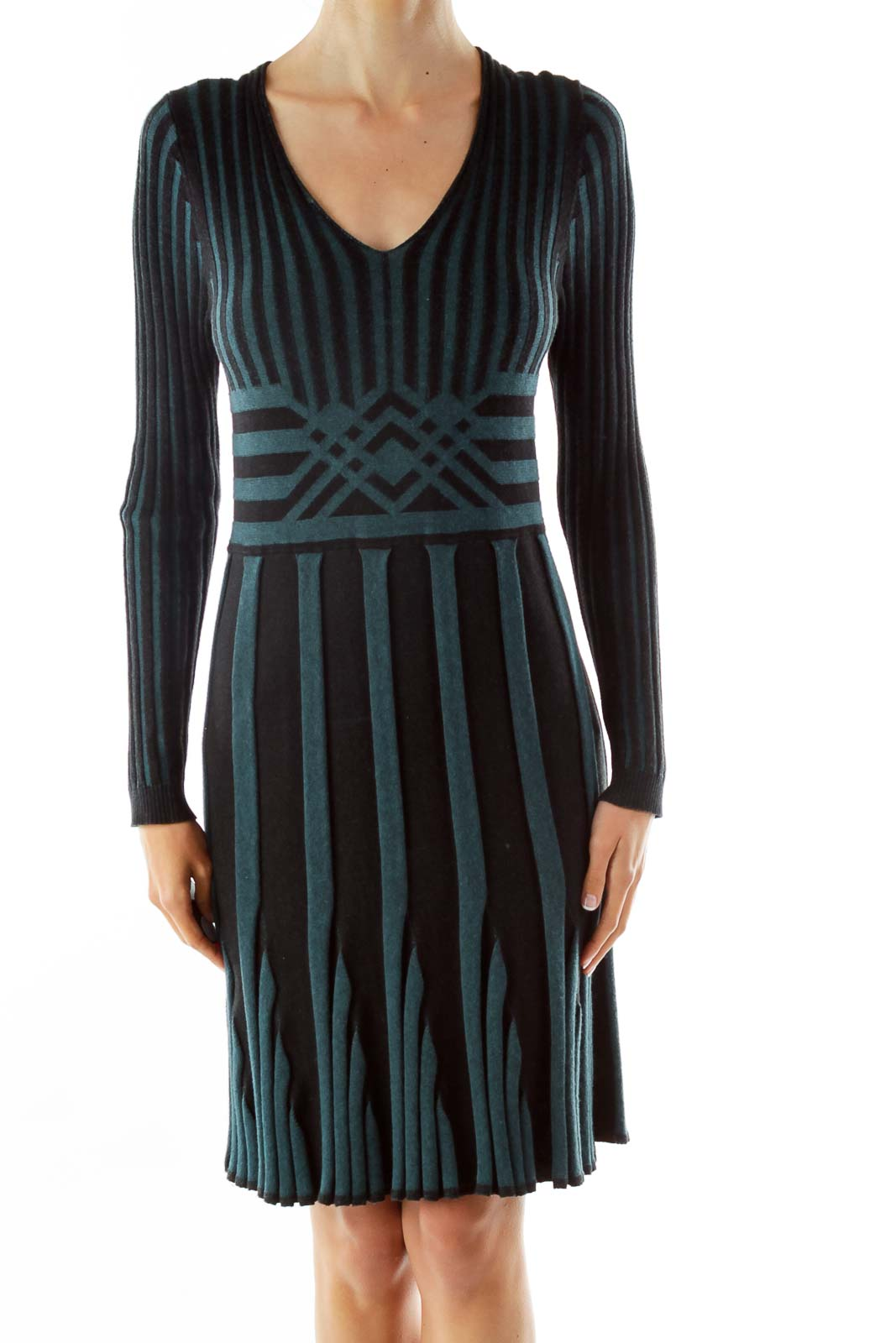 Green Black Textured Striped Day Dress Front