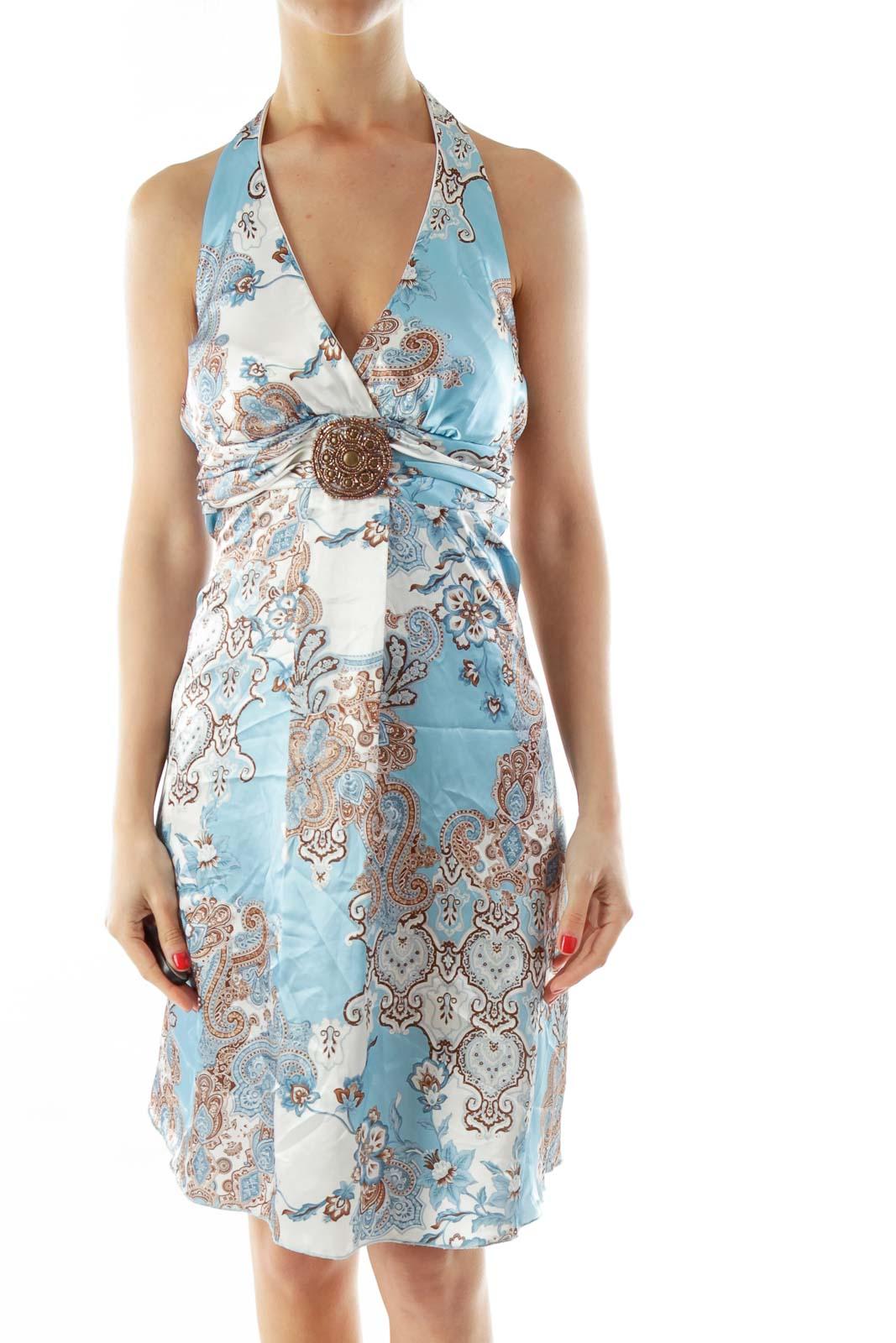 Blue White Print Beaded Satin Cocktail Dress Front