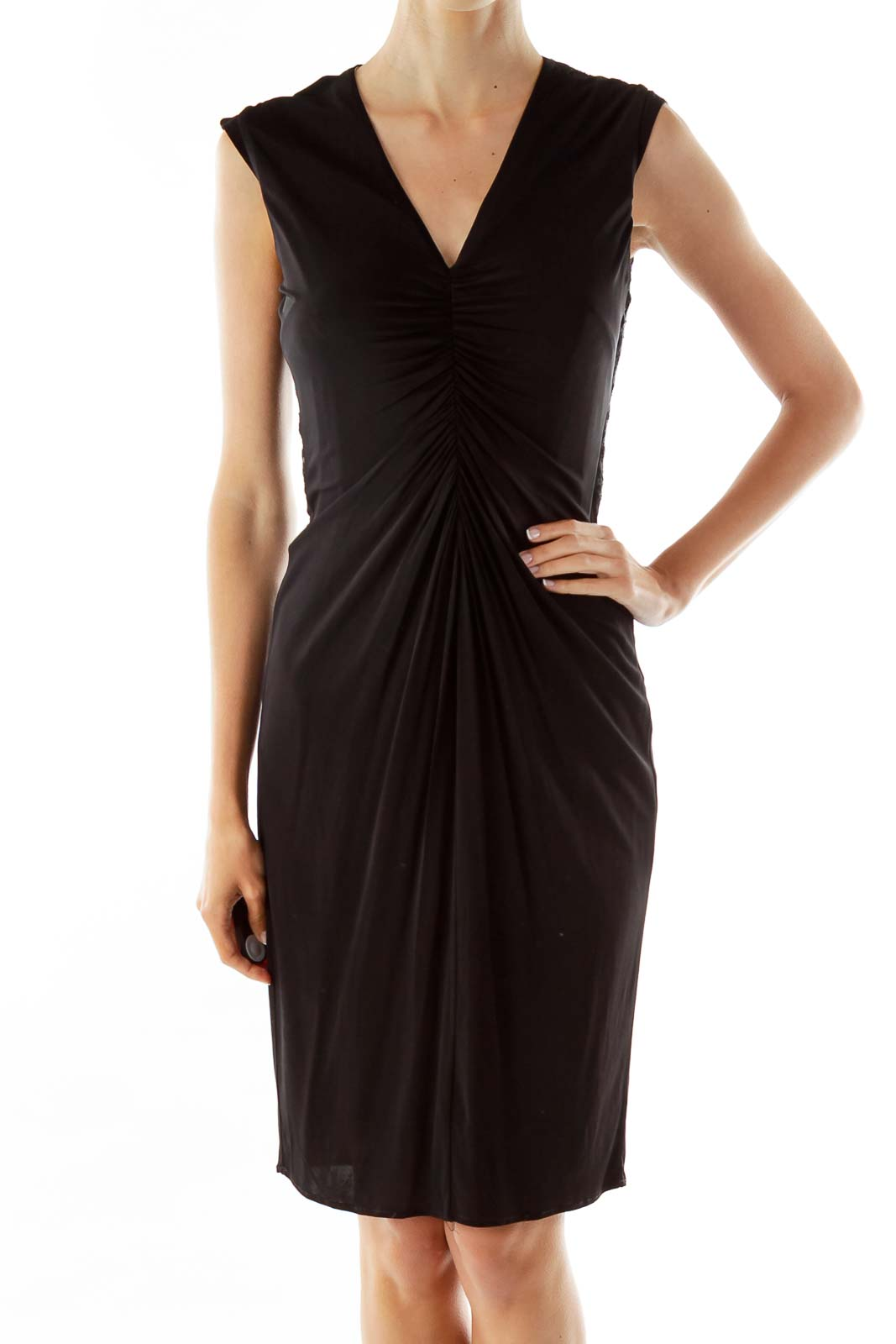 Black Gold V-neck Zippered Work Dress Front