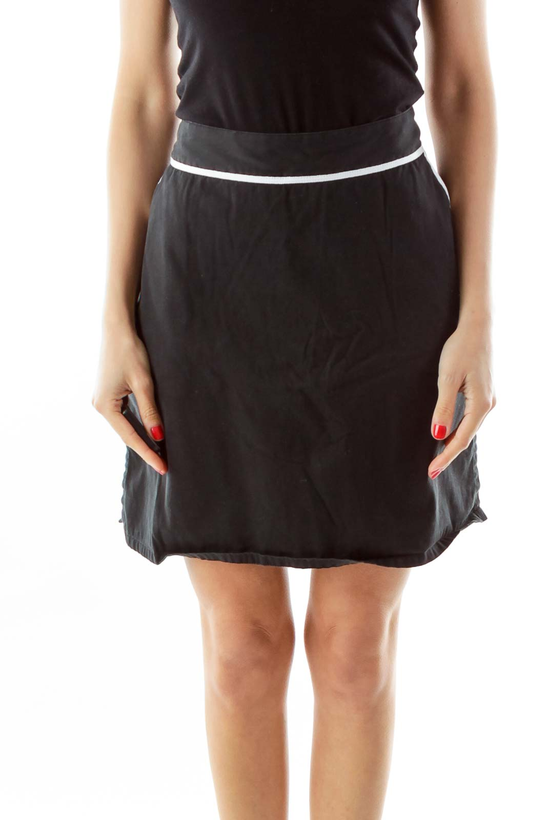 Black Pocketed Skirt w/ White Lines Front