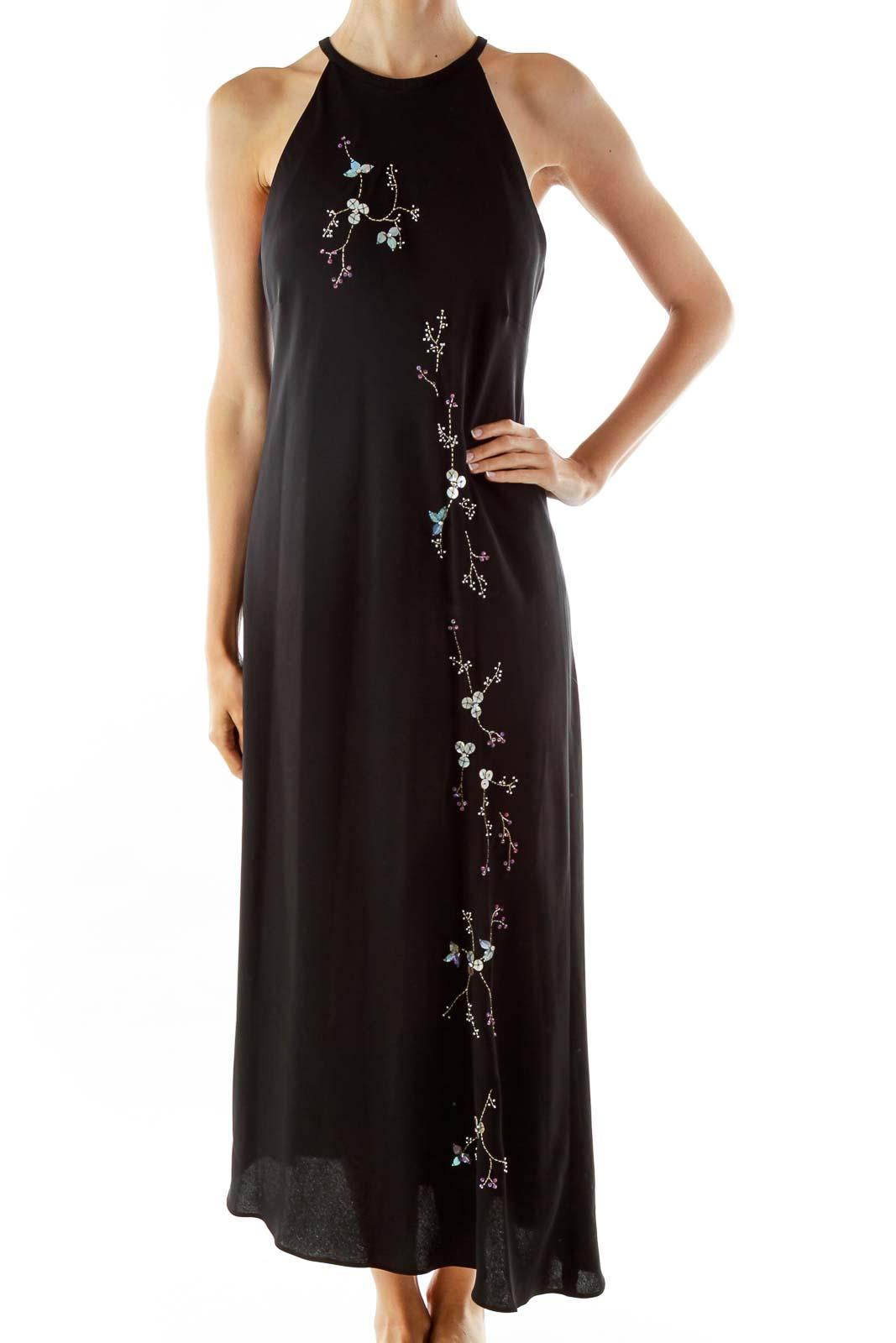 Black Embroidered Slip Evening Dress Front