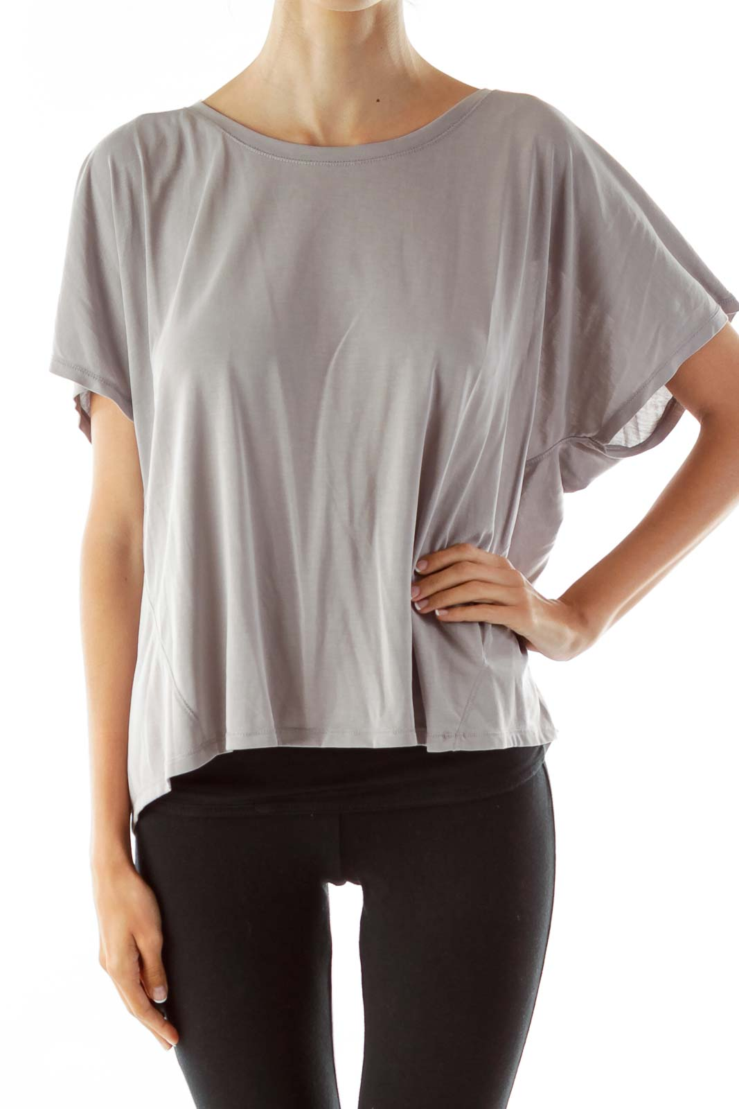 Gray Loose Open-Back T-Shirt Front