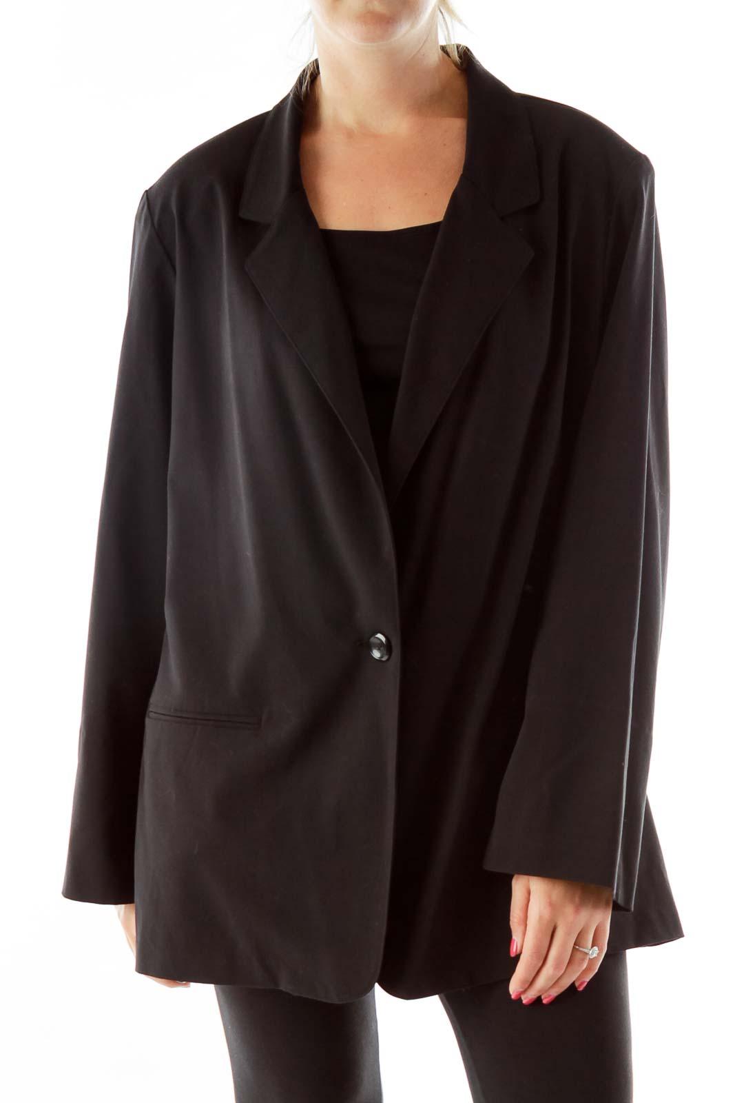 black Shoulder Padded Blazer Front