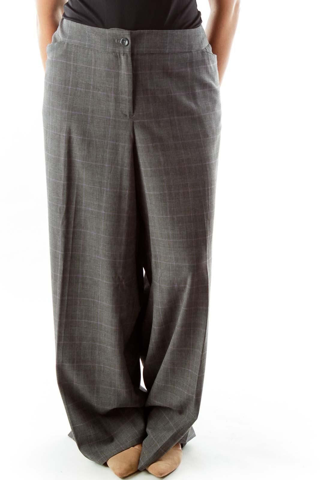 Grey Purple Houndstooth Tartan Suit Pants Front
