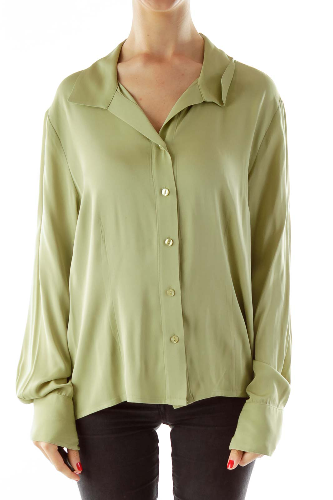 Green Fitted Silk Shirt Front