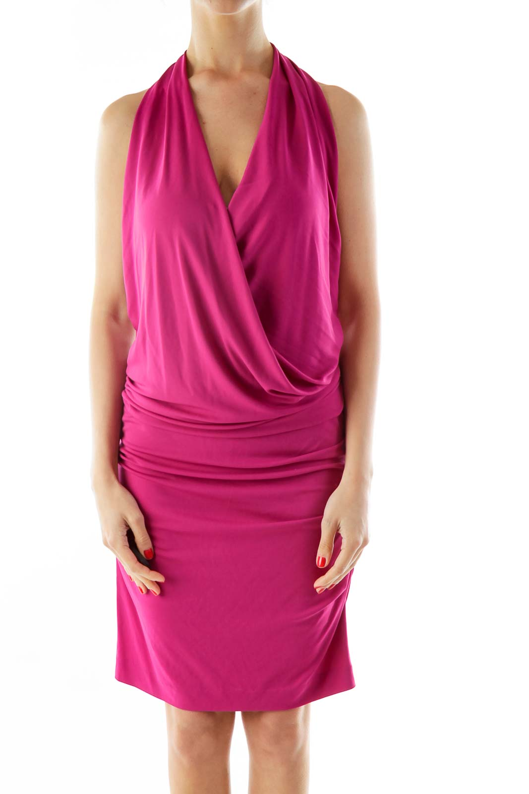 Pink Scrunched Halter Cocktail Dress Front