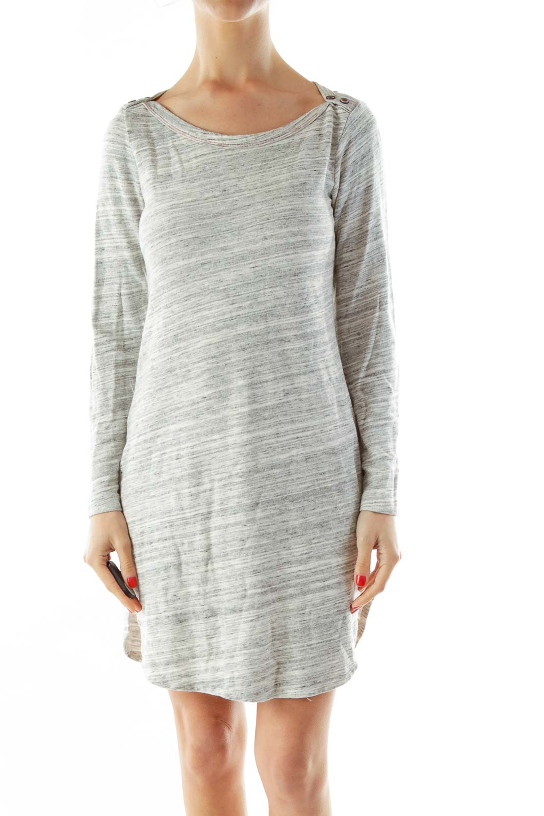 Gray White Buttoned Jersey Dress Front