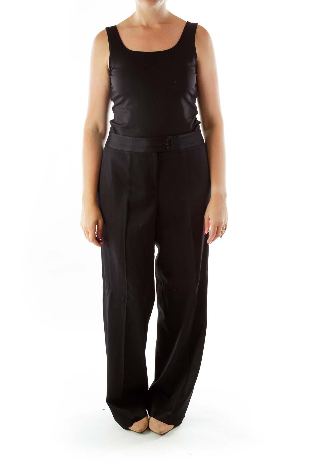 Black Fitted Straight Leg Slacks Front