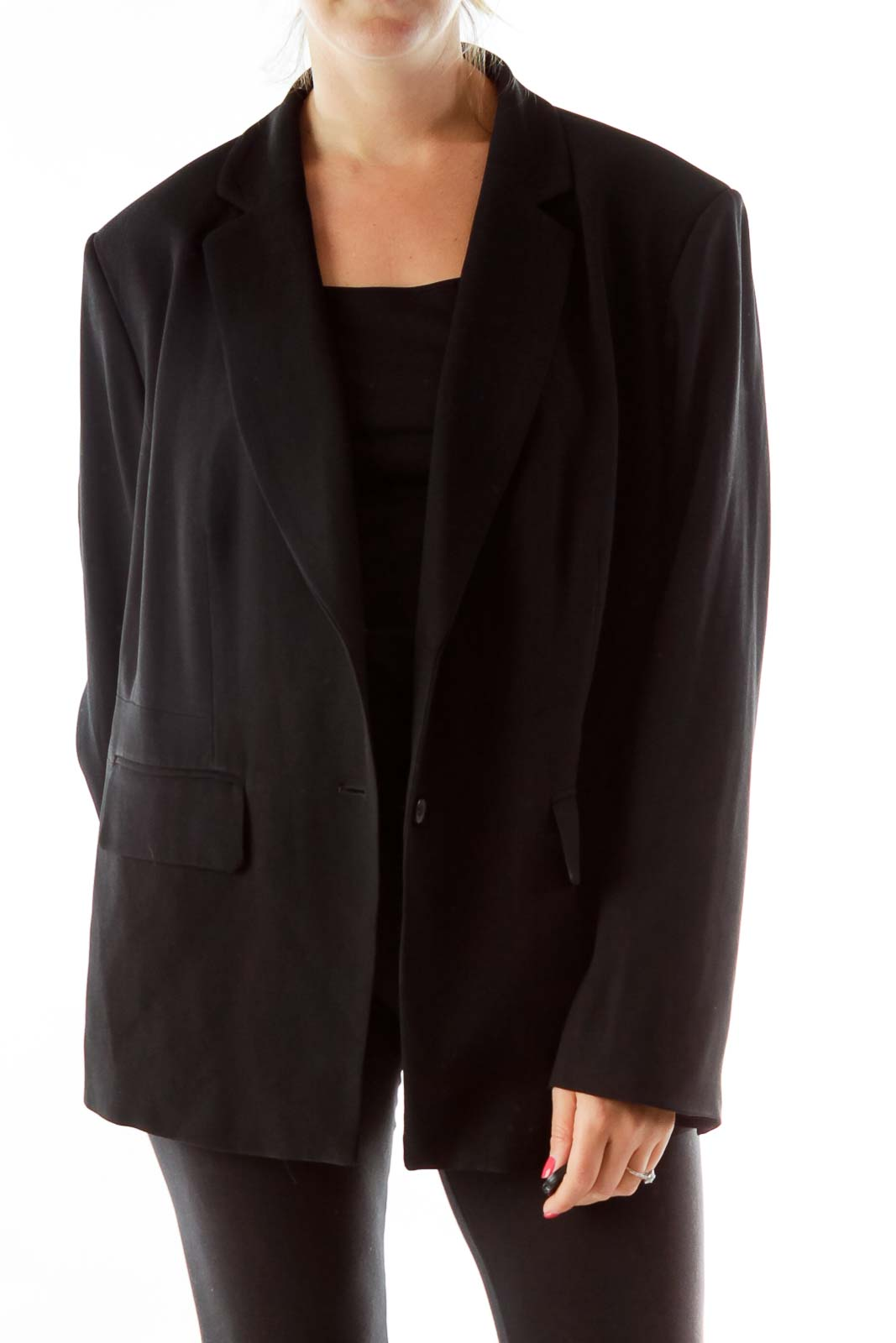 Black Fitted Button Up Blazer Front
