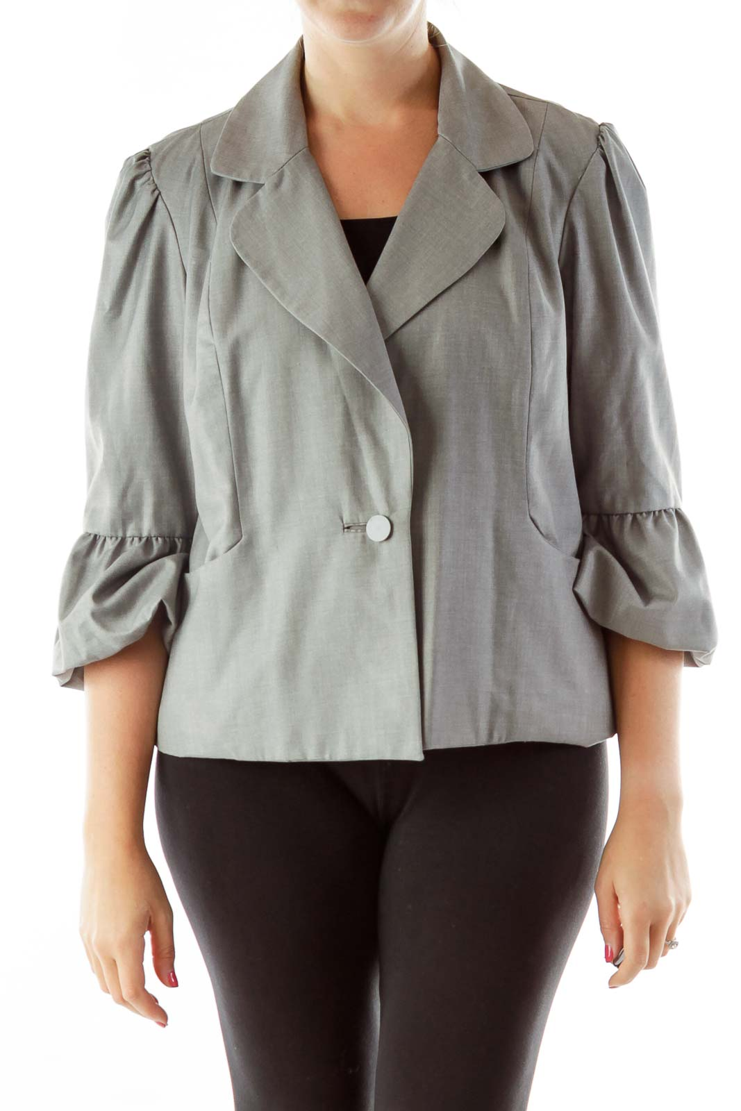 Gray Puffy Sleeves Blazer Front