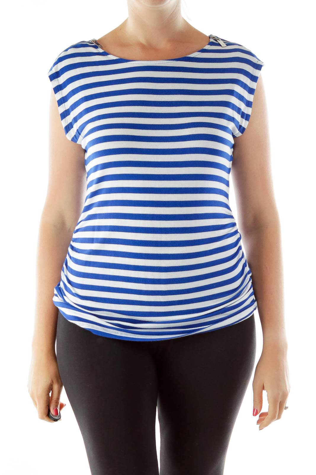 Blue White Striped Zipper Sleeve Top Front