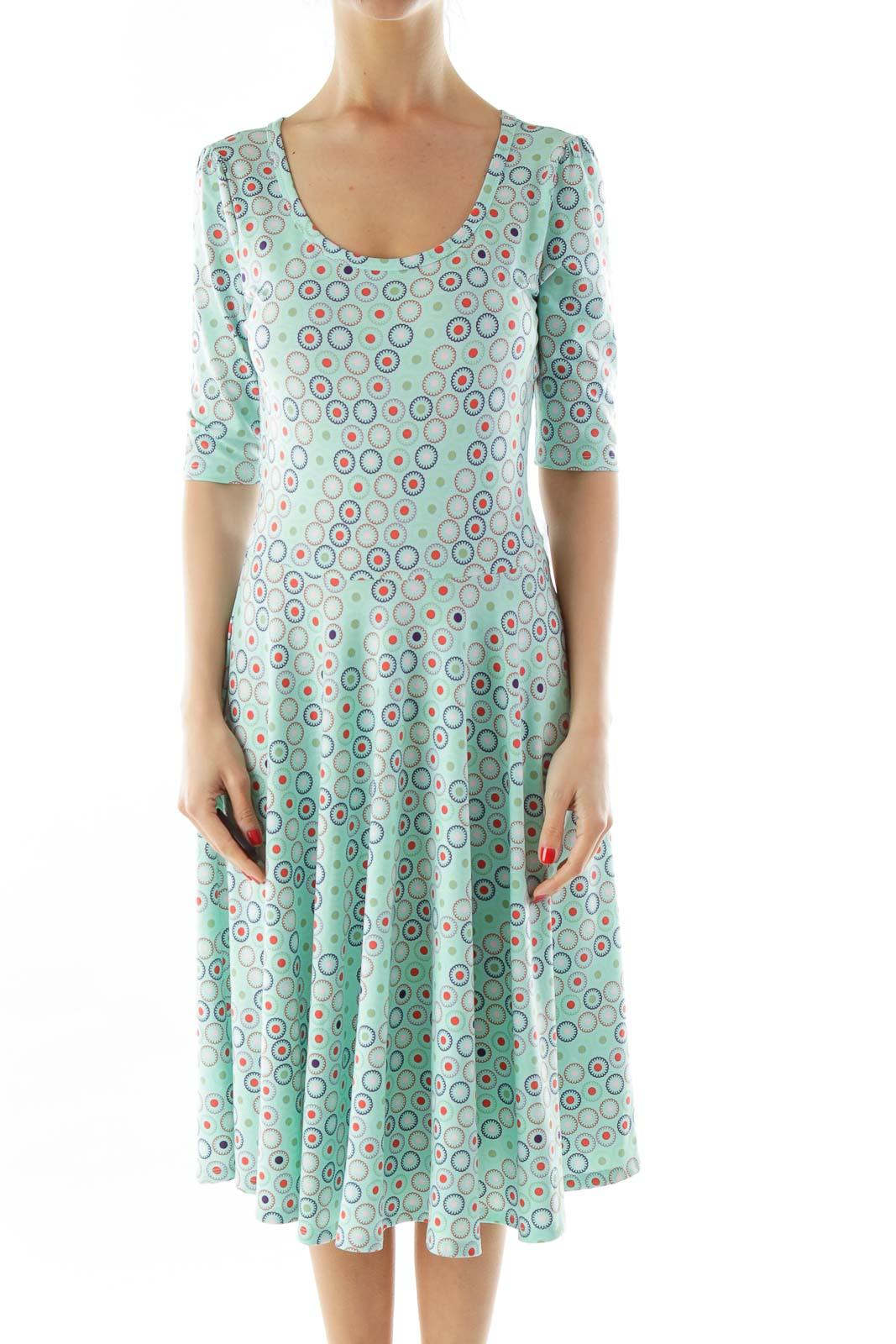 Blue Green Flower Print A-Line Dress Front