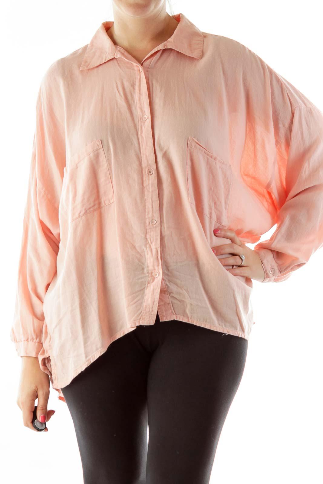 Pink Bat Sleeve Button Down Shirt Front