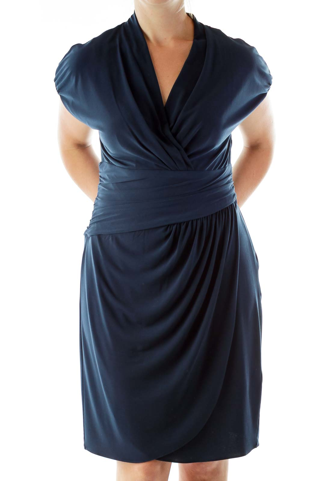 Navy Scrunched Wrap Dress Front