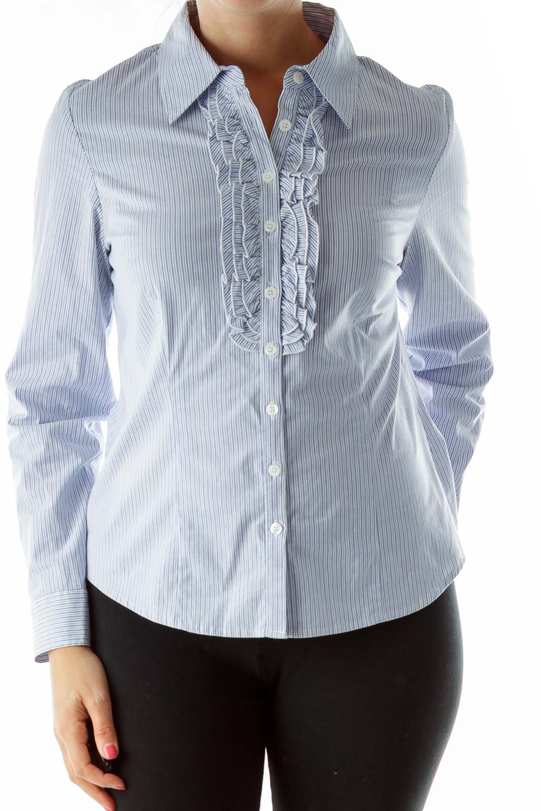 Blue White Striped Ruffled Shirt Front