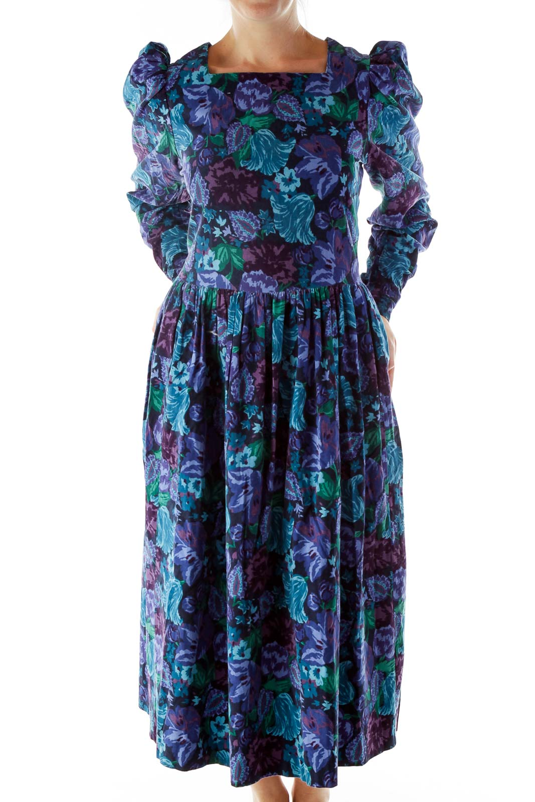 Purple Blue Flower Puffy Dress Front