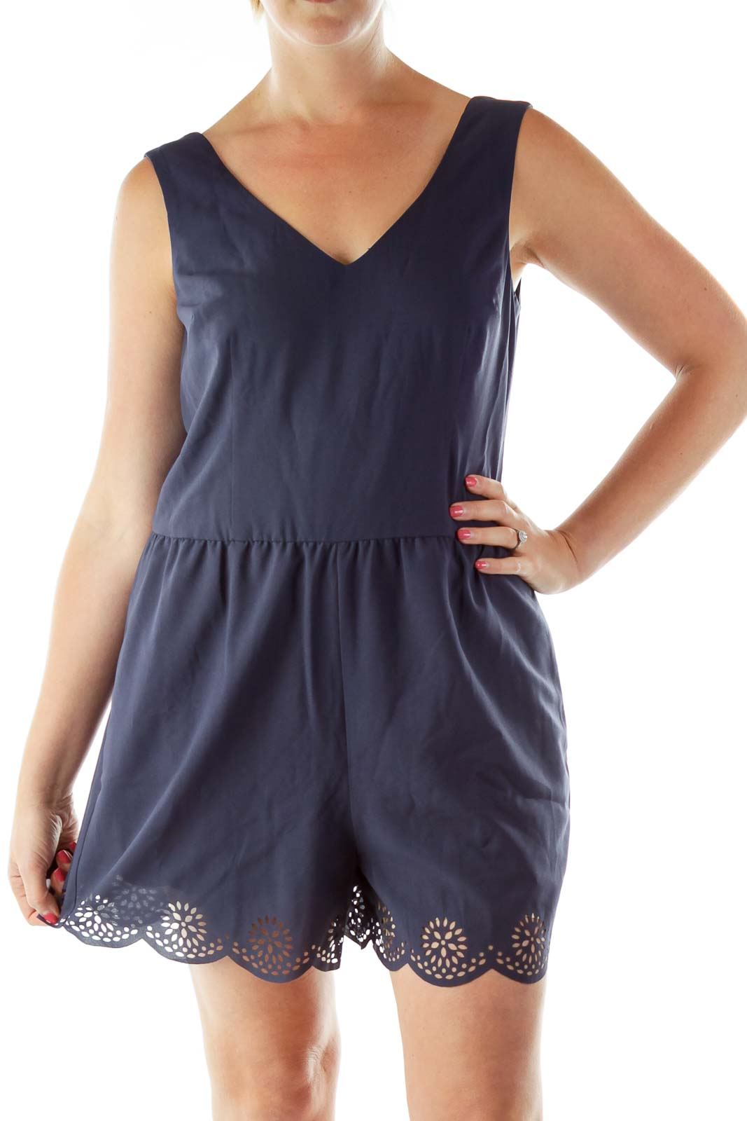 Navy Cut-out Detail Romper Front