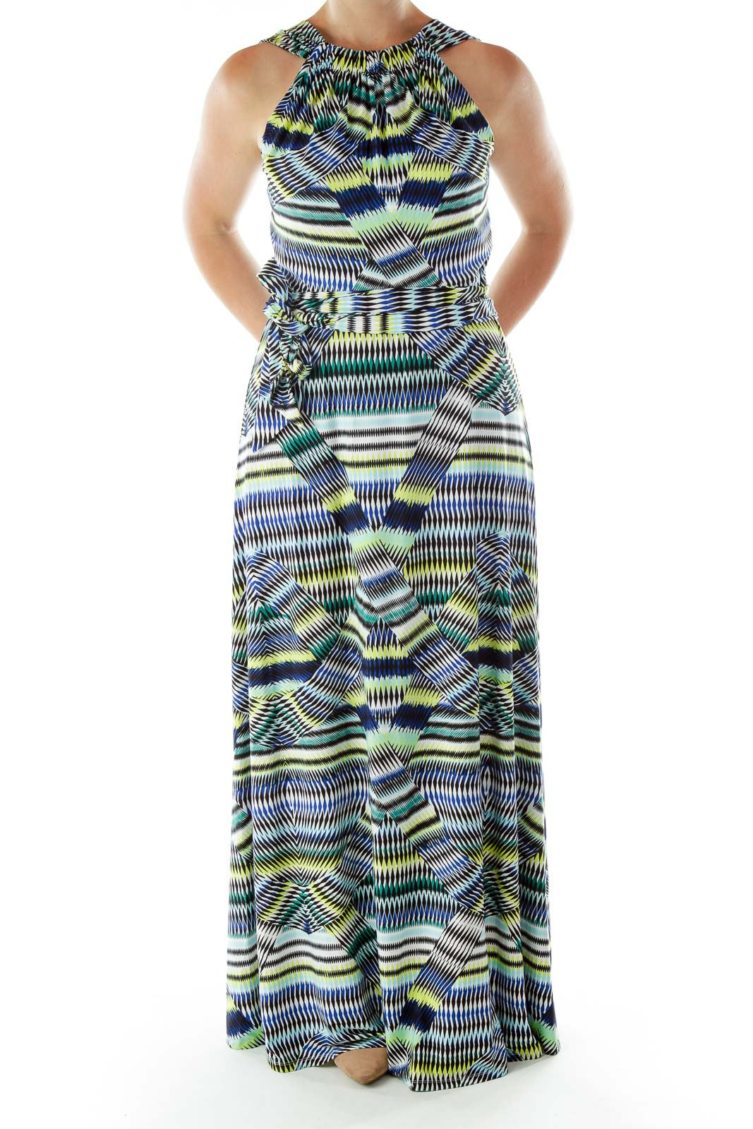 Multicolor Printed Maxi Dress Front