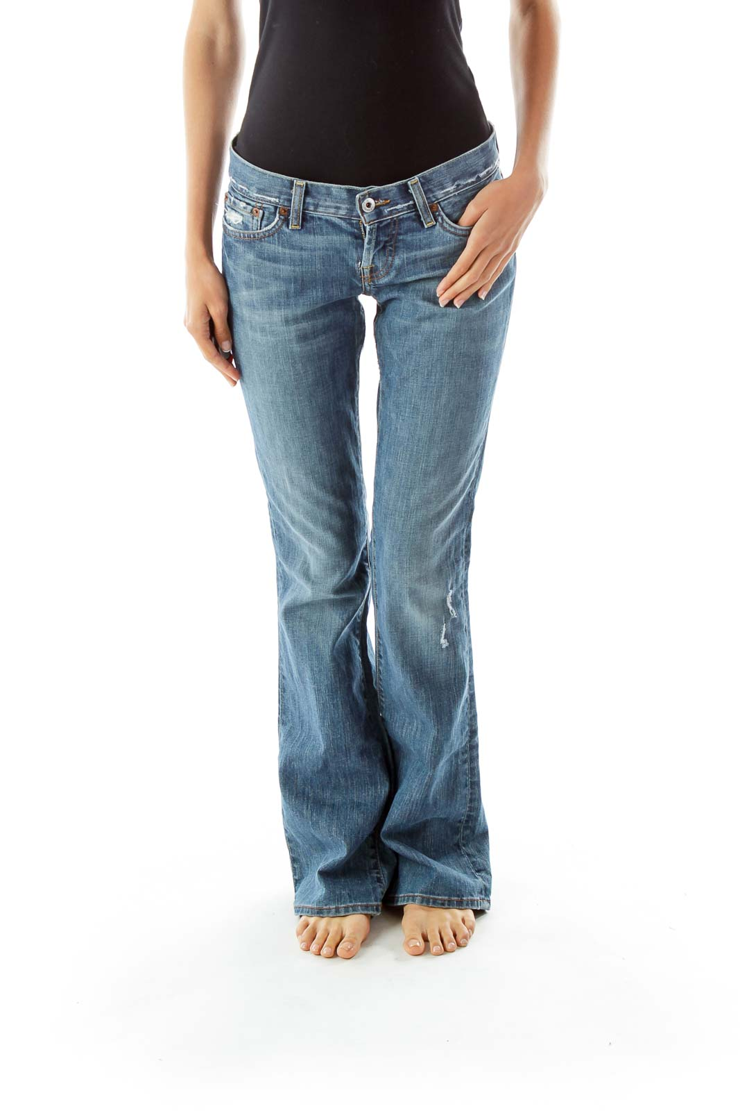 Destroyed Flared Jeans Front