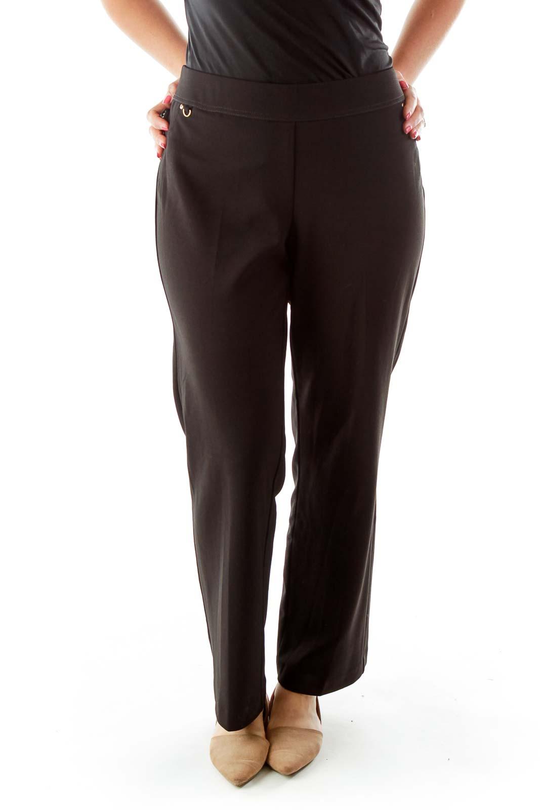 Black Elastic Waist Straight Fit Pants Front