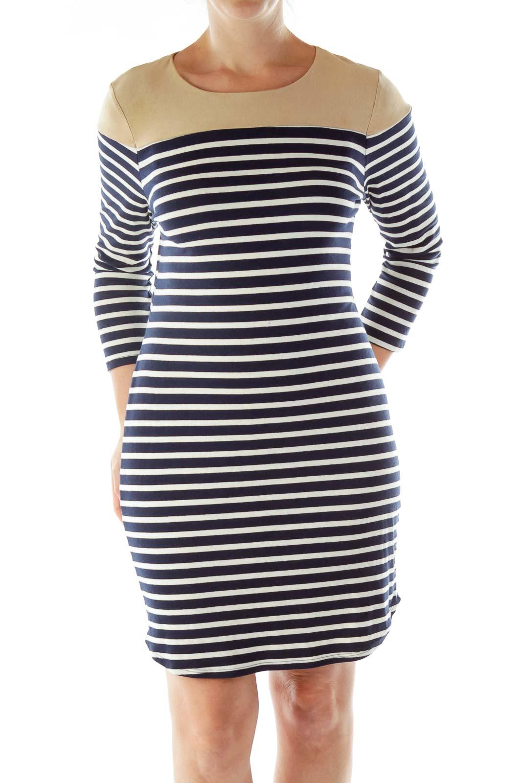 Navy Cream Beige Striped Dress Front