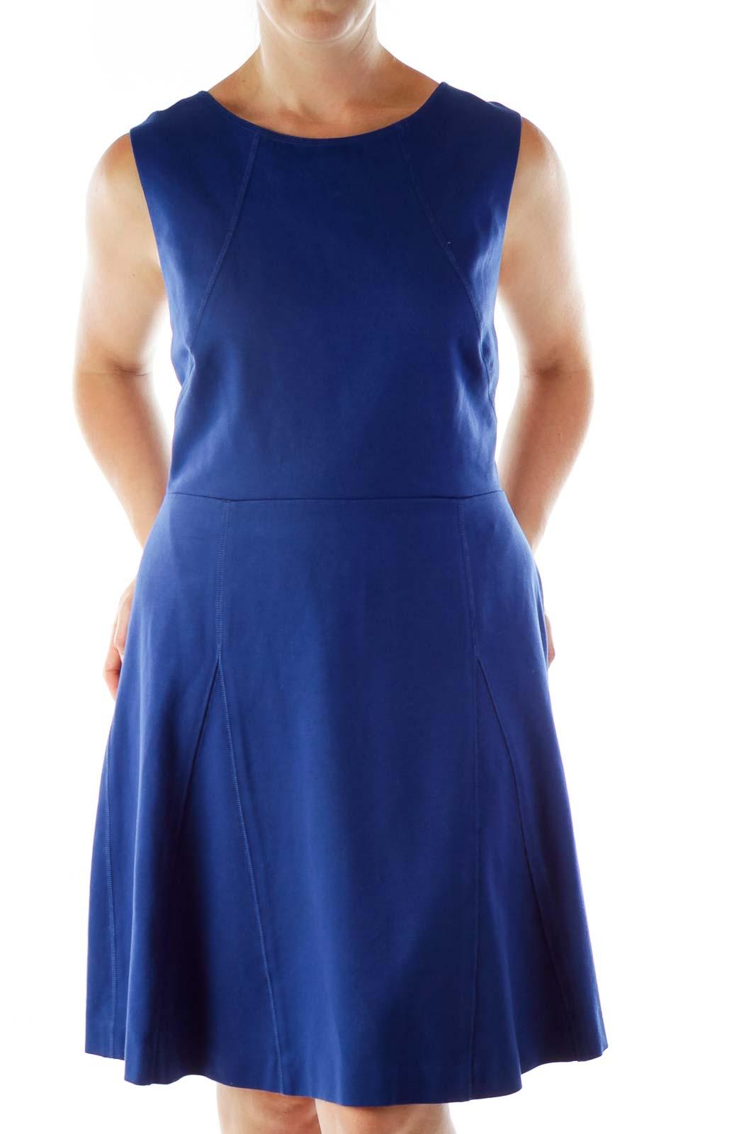 Royal Blue Open-Back Dress Front