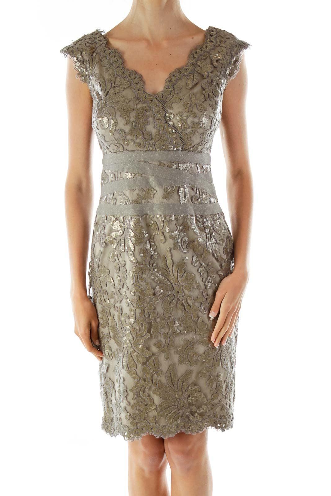 Gray Sequined Embroidered Cocktail Dress Front