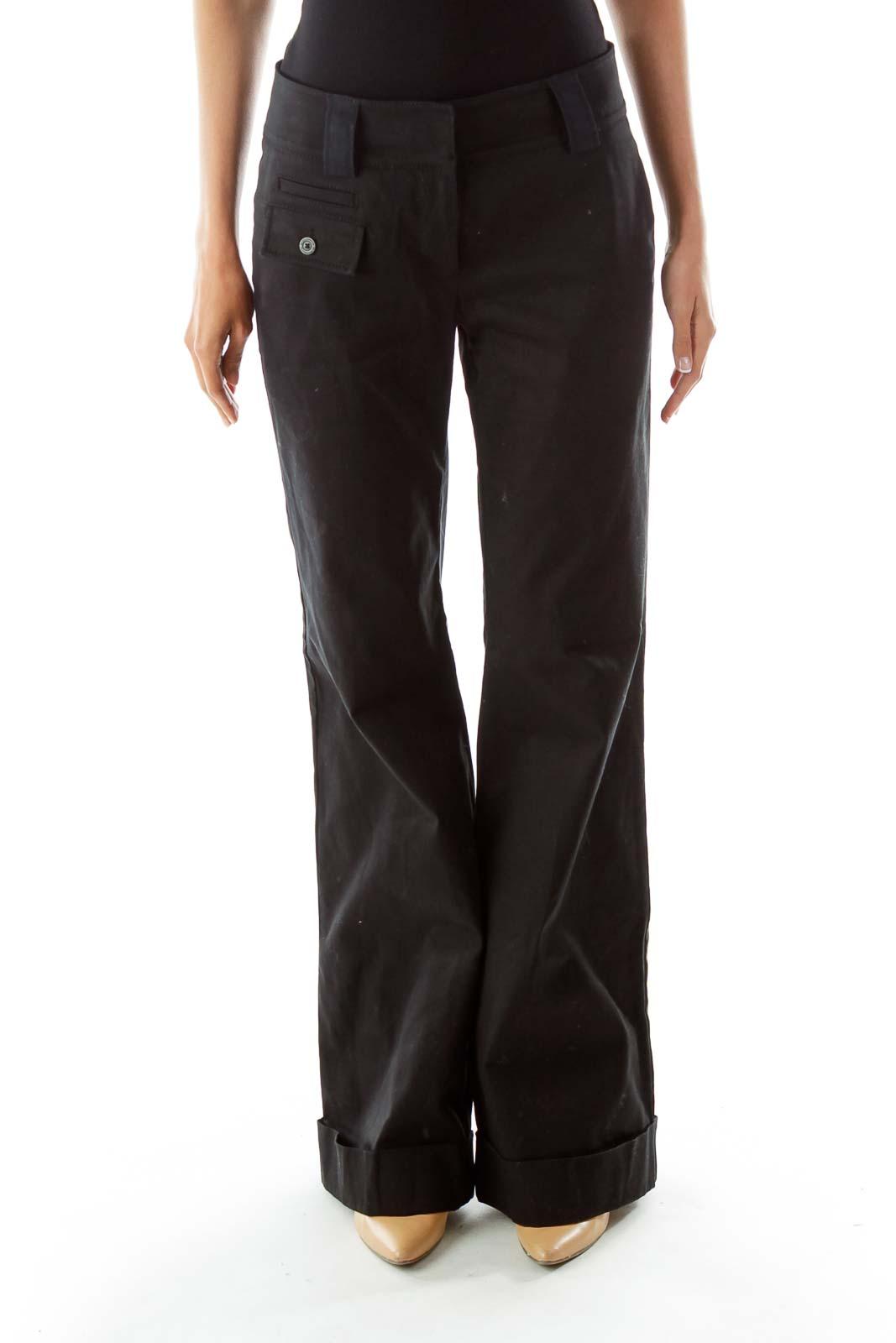 Black Wide Leg Pants Front