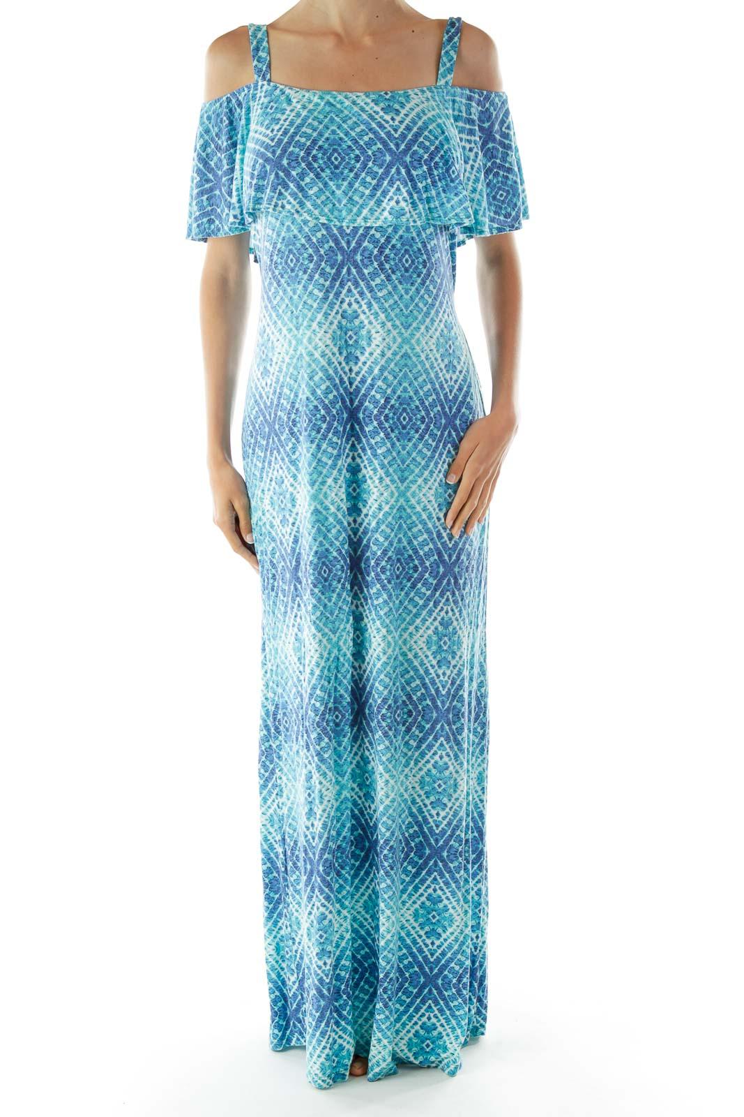 Blue White Tie Dye Cold Shoulder Day Dress Front