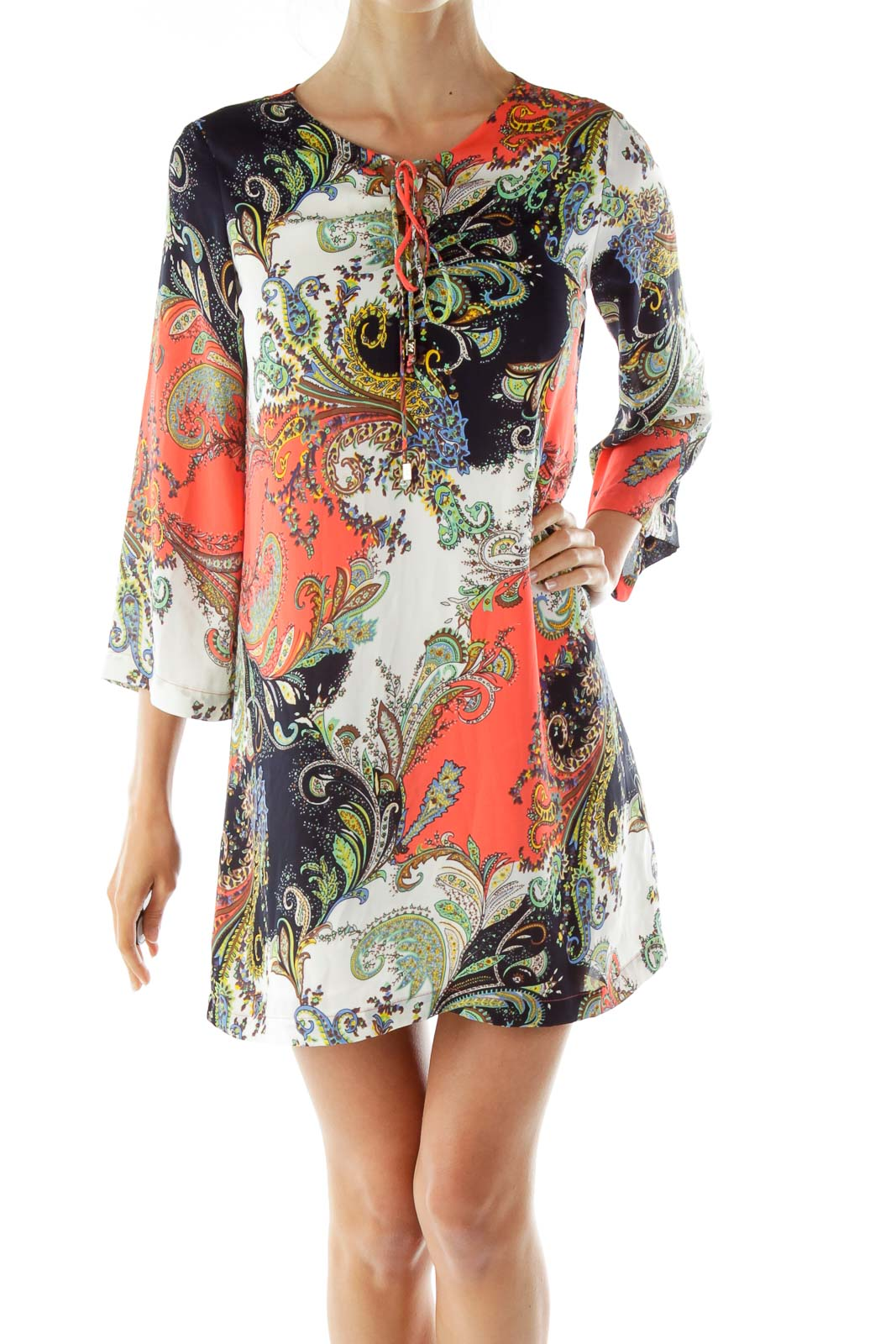 Multicolor Paisley Shift Day Dress Front