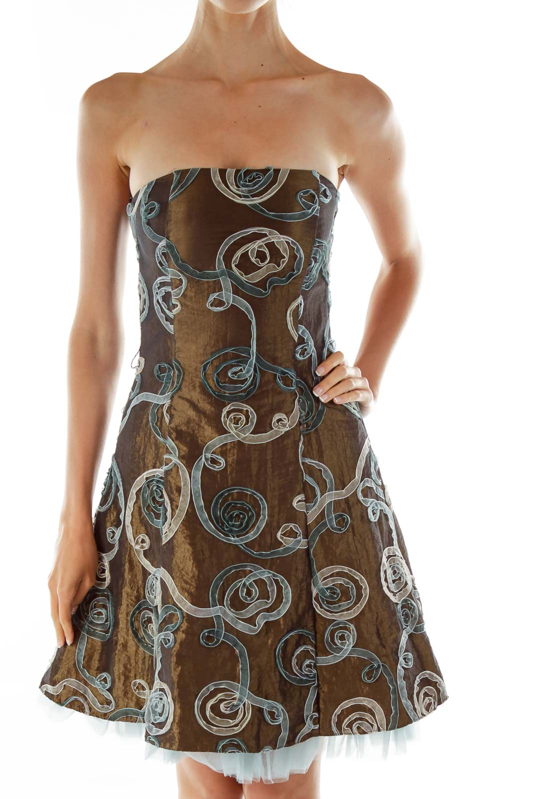 Brown Strapless Dress w/ Blue Tulle Front